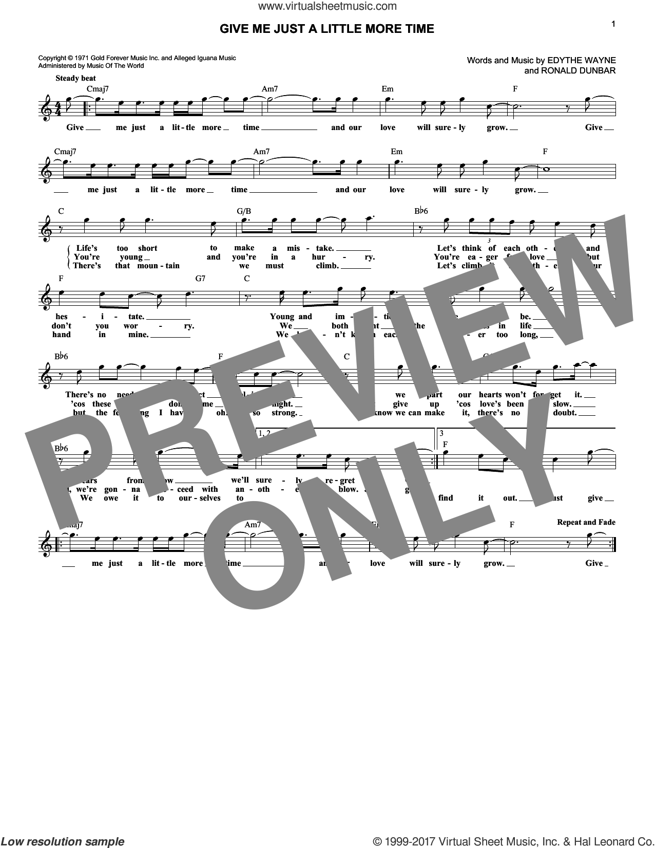 Give Me Just A Little More Time sheet music for voice and other instruments (fake book) by Chairmen of the Board, Edythe Wayne and Ronald Dunbar, intermediate skill level