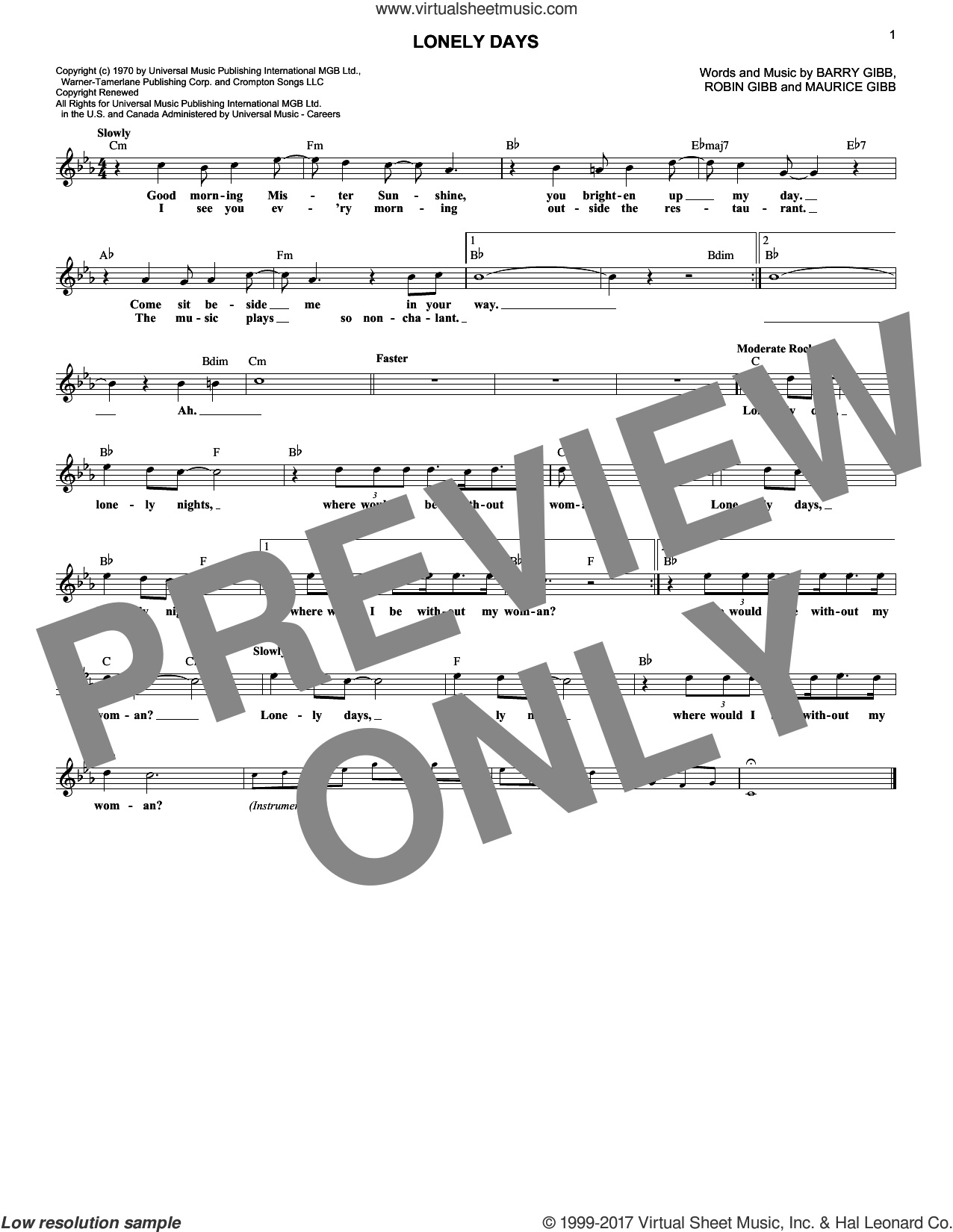 Lonely Days sheet music for voice and other instruments (fake book) by Bee Gees, Barry Gibb, Maurice Gibb and Robin Gibb, intermediate skill level