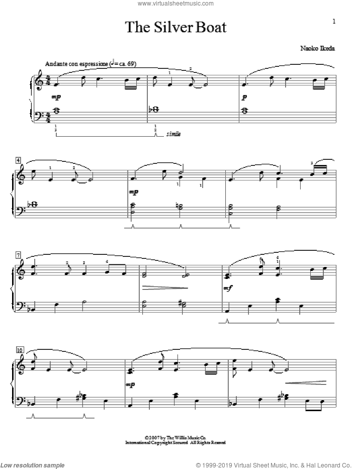 The Silver Boat sheet music for piano solo (elementary) by Naoko Ikeda, beginner piano (elementary)