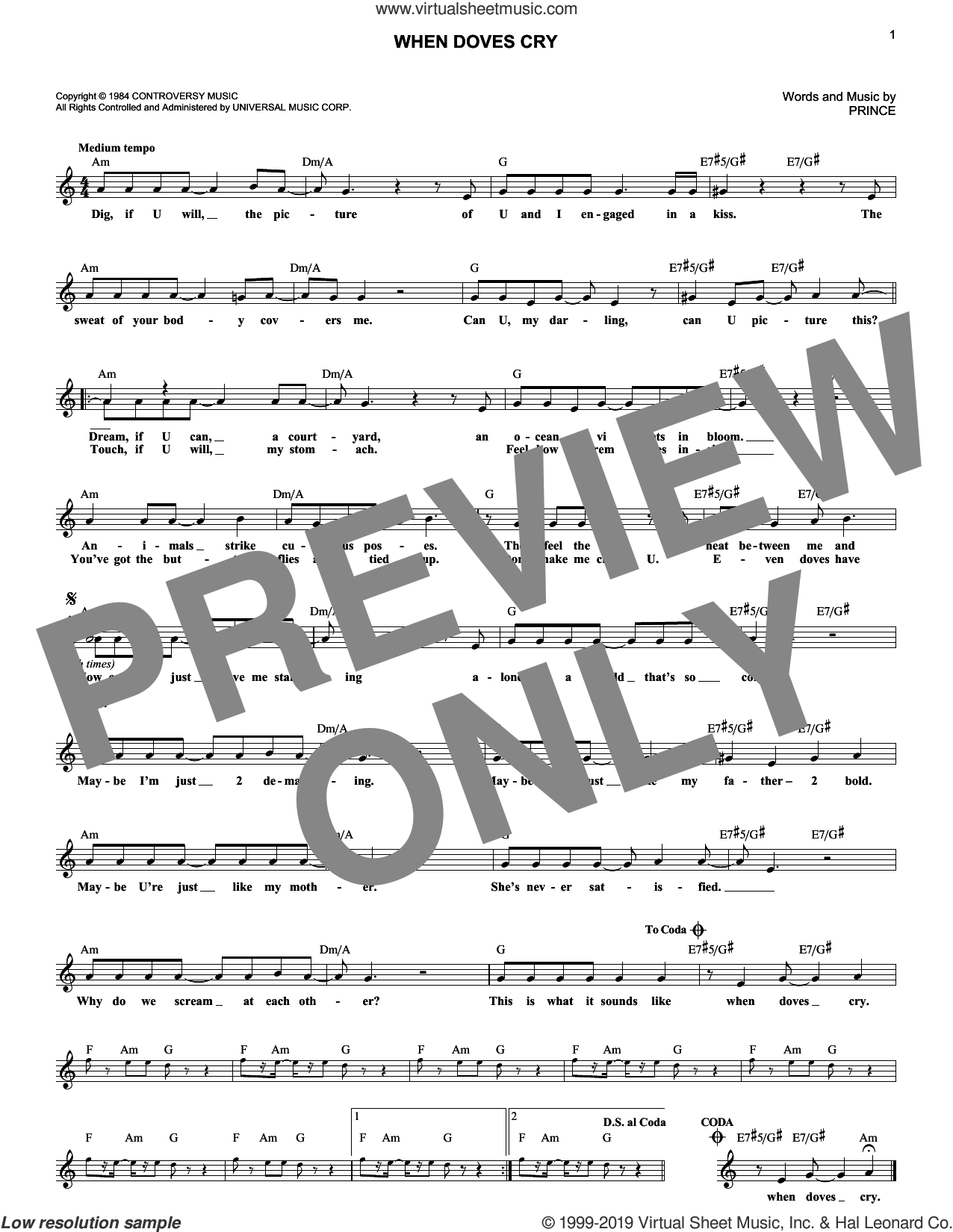 When Doves Cry sheet music for voice and other instruments (fake book) by Prince, intermediate skill level