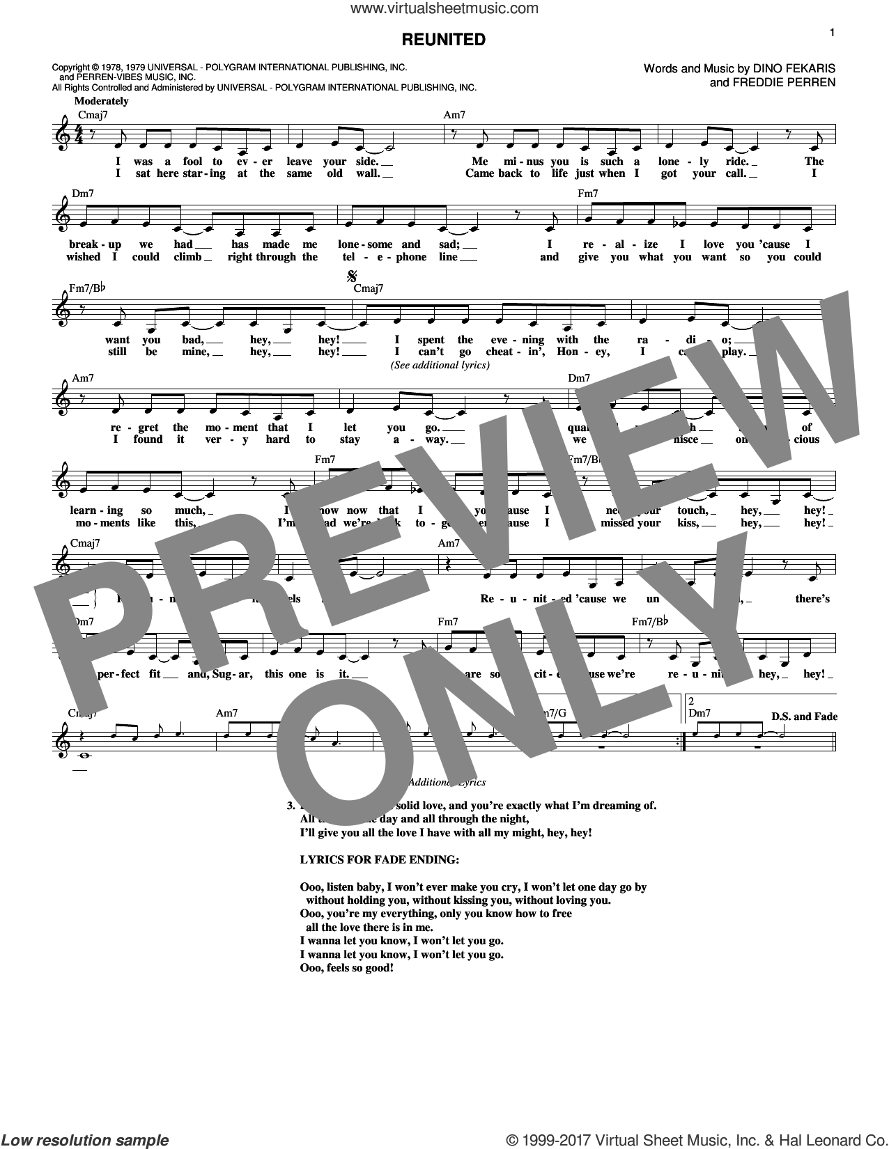 Reunited sheet music for voice and other instruments (fake book) by Frederick Perren, Peaches & Herb and Dino Fekaris. Score Image Preview.
