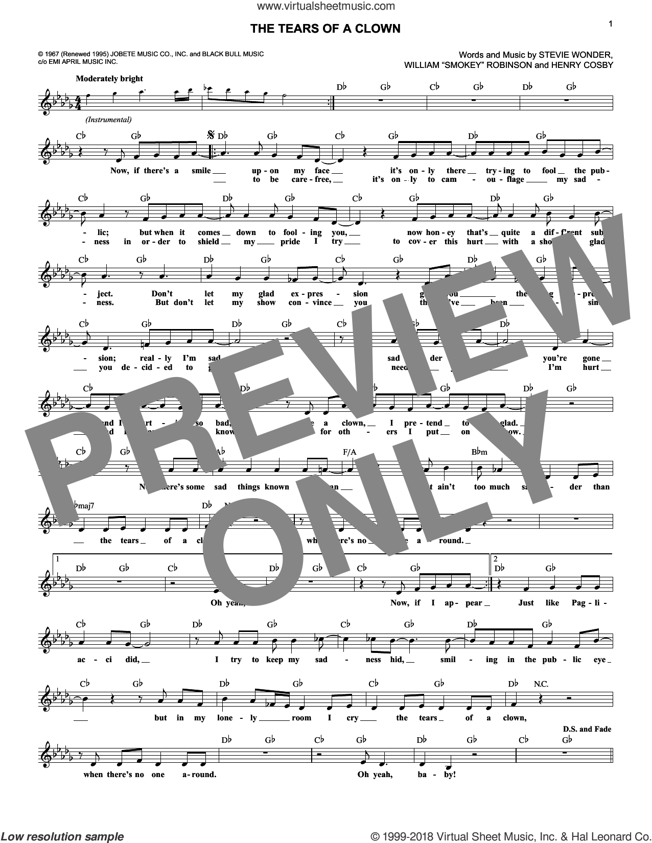 The Tears Of A Clown sheet music for voice and other instruments (fake book) by Smokey Robinson & The Miracles, Henry Cosby and Stevie Wonder, intermediate. Score Image Preview.