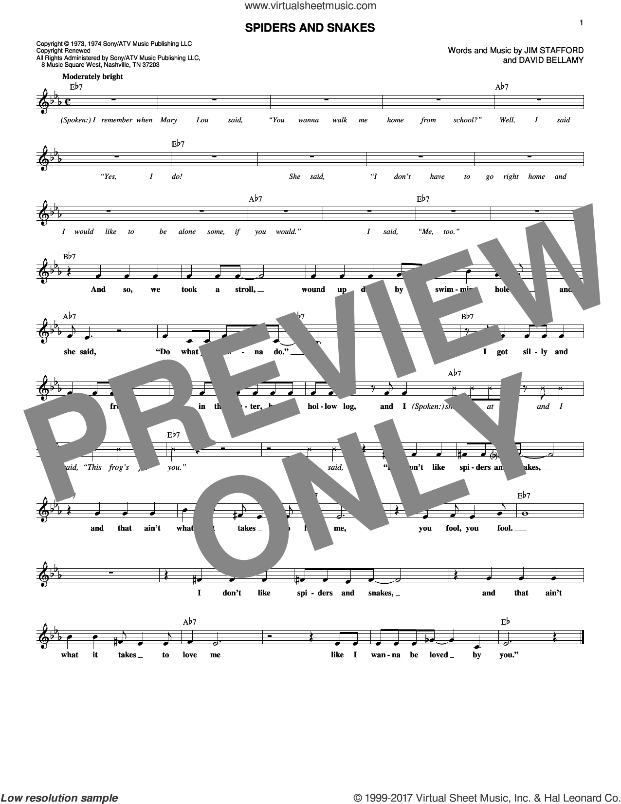 Spiders And Snakes sheet music for voice and other instruments (fake book) by The Party, David Bellamy and Jim Stafford, intermediate skill level