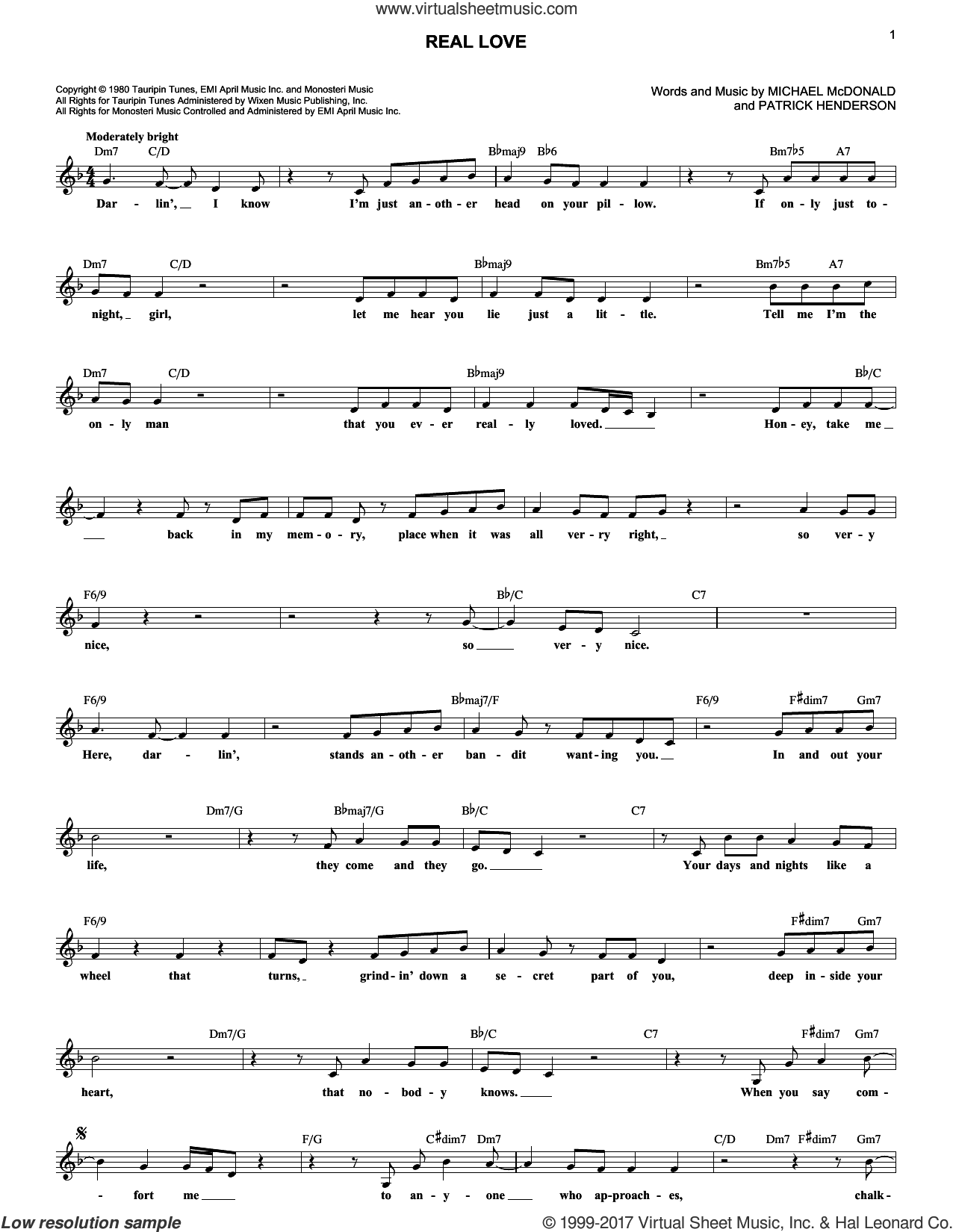 Real Love sheet music for voice and other instruments (fake book) by Patrick Henderson, The Doobie Brothers and Michael McDonald. Score Image Preview.