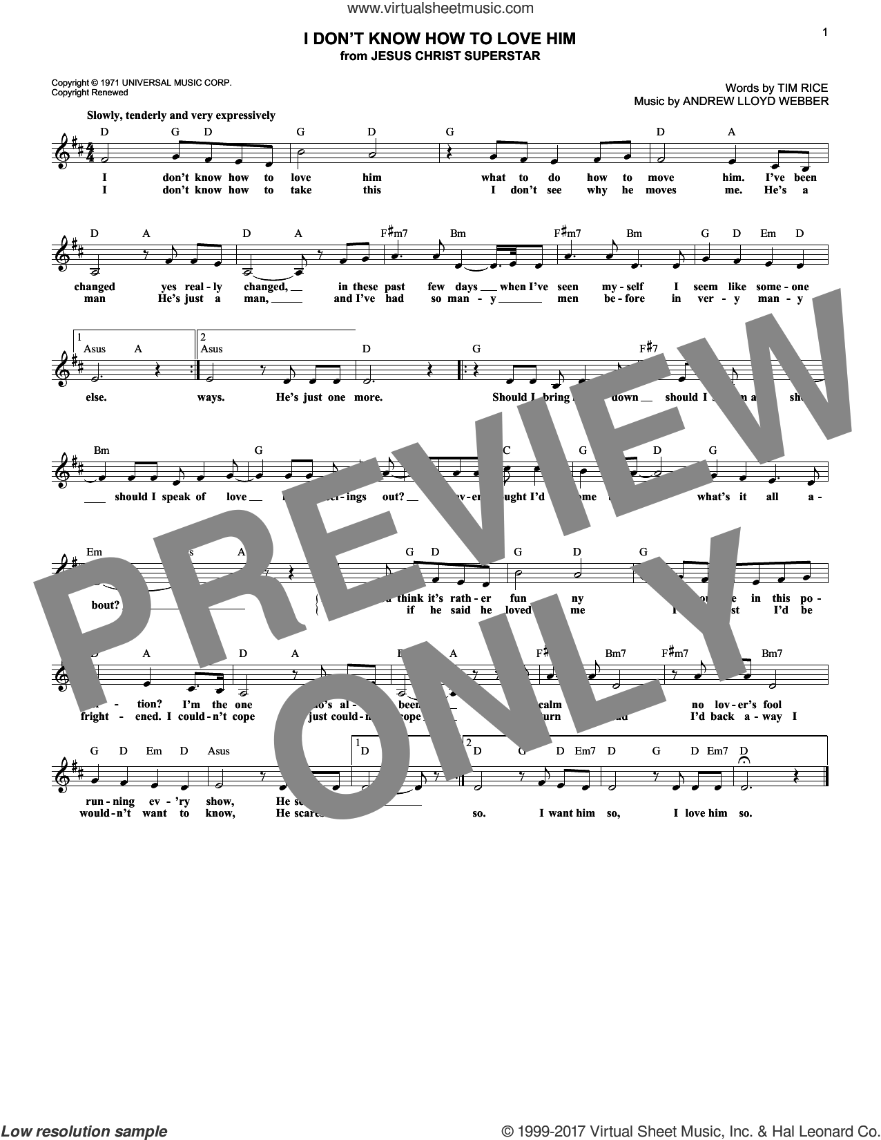I Don't Know How To Love Him (from Jesus Christ Superstar) sheet music for voice and other instruments (fake book) by Andrew Lloyd Webber, Helen Reddy and Tim Rice, intermediate skill level