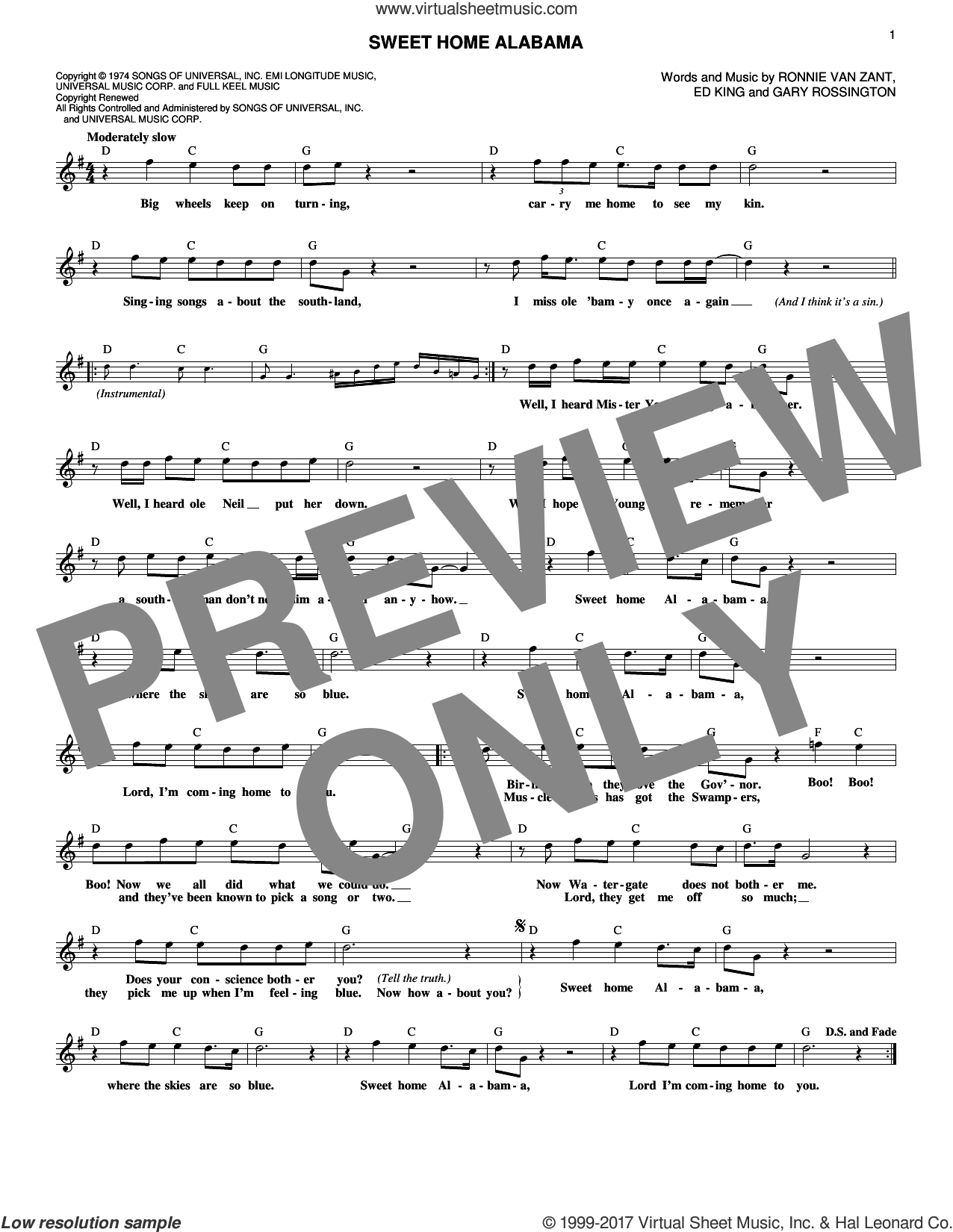 Sweet Home Alabama sheet music for voice and other instruments (fake book) by Lynyrd Skynyrd, Edward King, Gary Rossington and Ronnie Van Zant, intermediate skill level