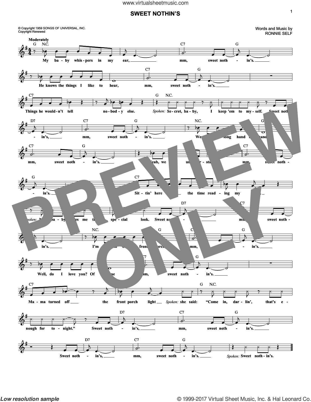 Sweet Nothin's sheet music for voice and other instruments (fake book) by Brenda Lee and Ronnie Self, intermediate skill level