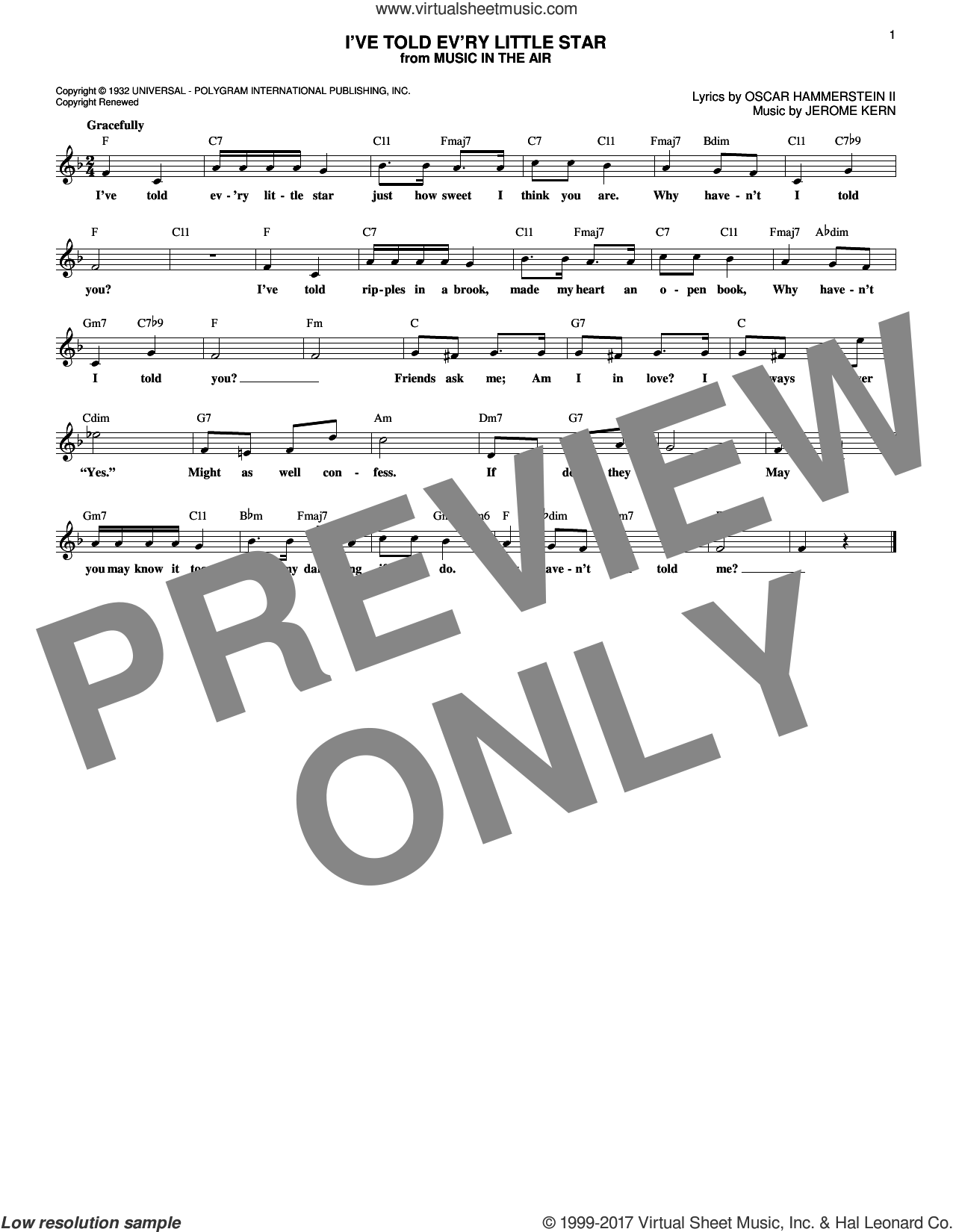 I've Told Ev'ry Little Star sheet music for voice and other instruments (fake book) by Oscar II Hammerstein, Linda Scott and Jerome Kern, intermediate skill level