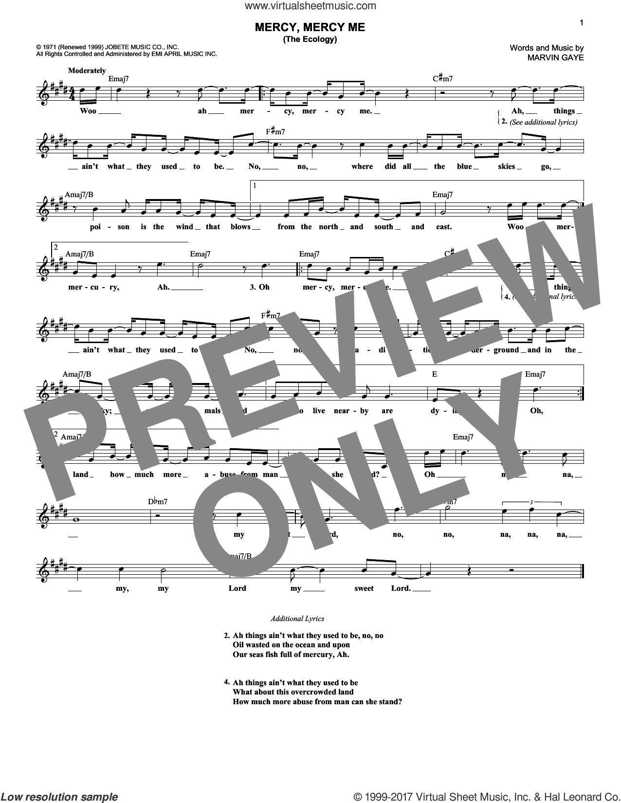 Mercy, Mercy Me (The Ecology) sheet music for voice and other instruments (fake book) by Marvin Gaye, intermediate skill level