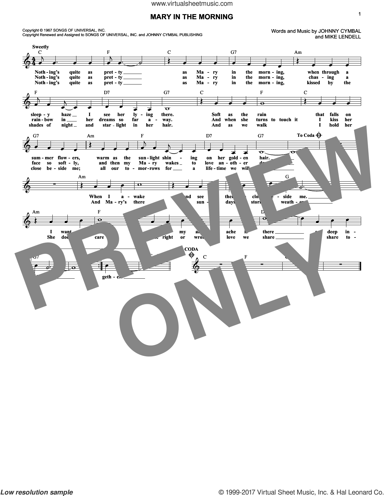 Mary In The Morning sheet music for voice and other instruments (fake book) by Johnny Cymbal, Al Martino and Elvis Presley, intermediate. Score Image Preview.