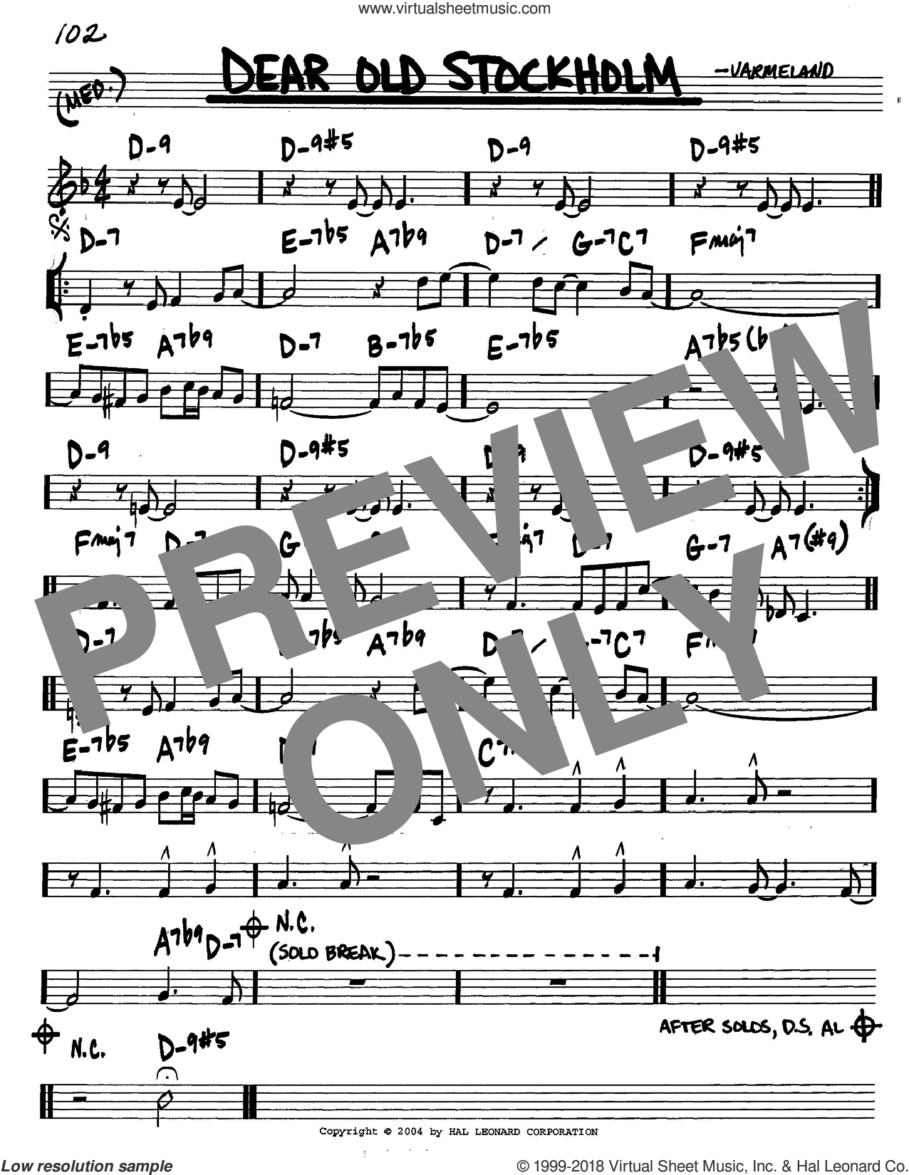 Dear Old Stockholm sheet music for voice and other instruments (C) by Varmeland, intermediate. Score Image Preview.