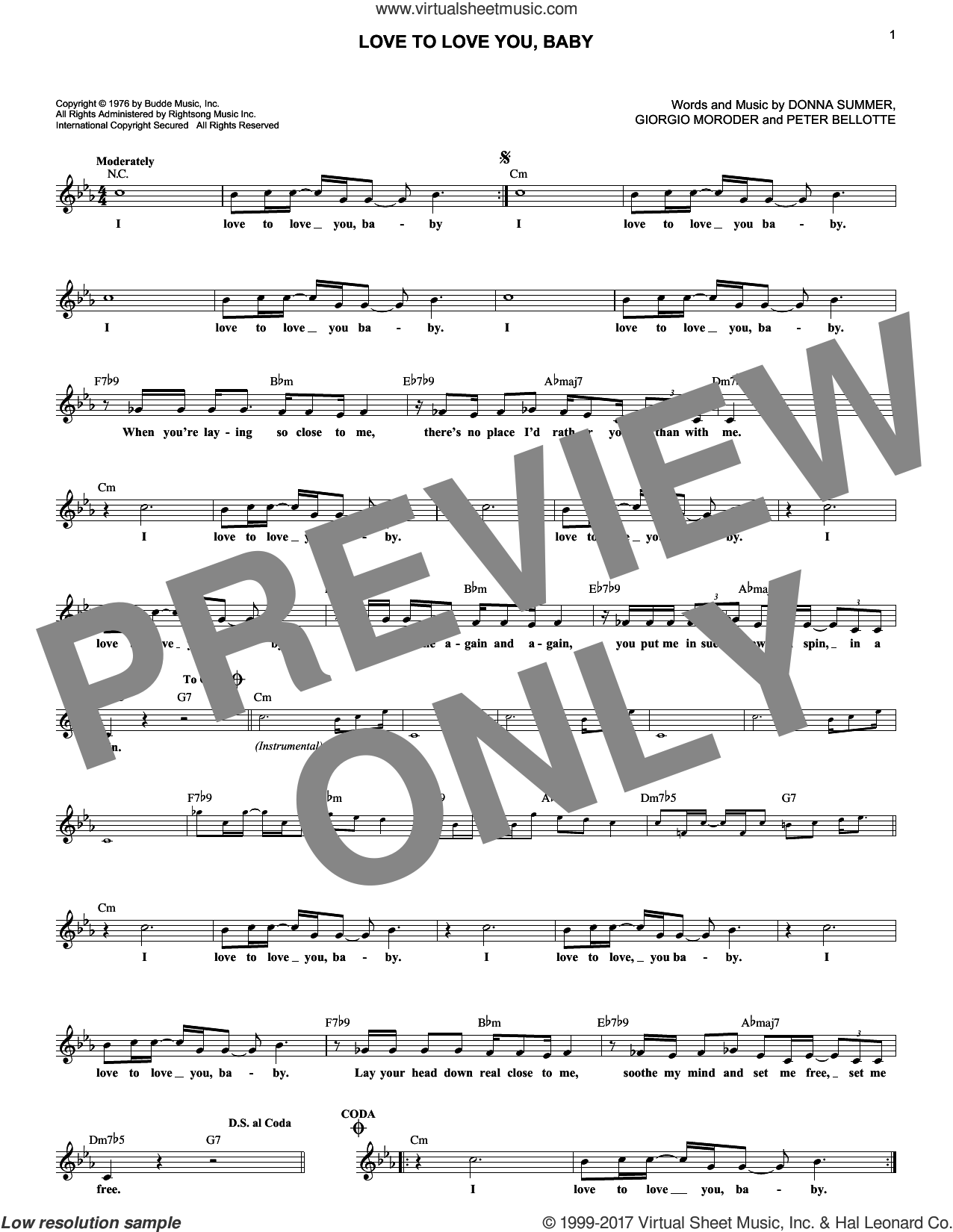 Love To Love You, Baby sheet music for voice and other instruments (fake book) by Donna Summer, Giorgio Moroder and Peter Bellotte, intermediate. Score Image Preview.