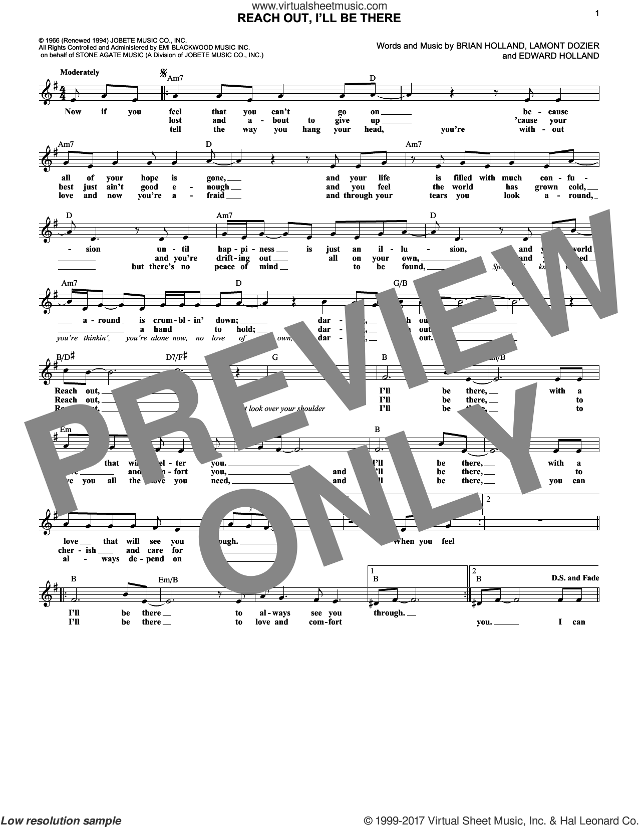 Reach Out And I'll Be There sheet music for voice and other instruments (fake book) by Lamont Dozier, Michael McDonald, The Four Tops and Brian Holland. Score Image Preview.