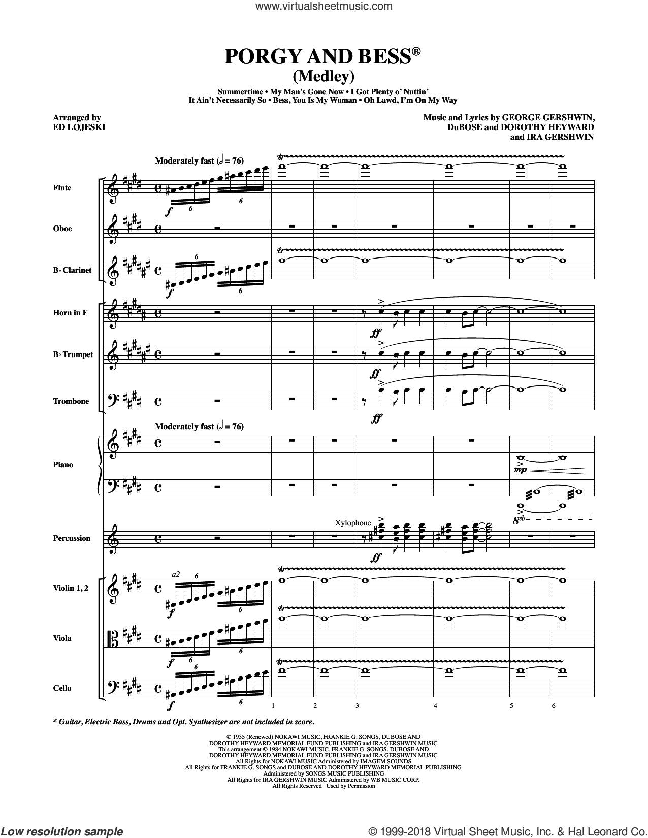 Porgy and Bess (Medley) sheet music for orchestra/band (full score) by George Gershwin, Ed Lojeski, Dorothy Heyward, DuBose Heyward and Ira Gershwin, intermediate orchestra/band (full score). Score Image Preview.
