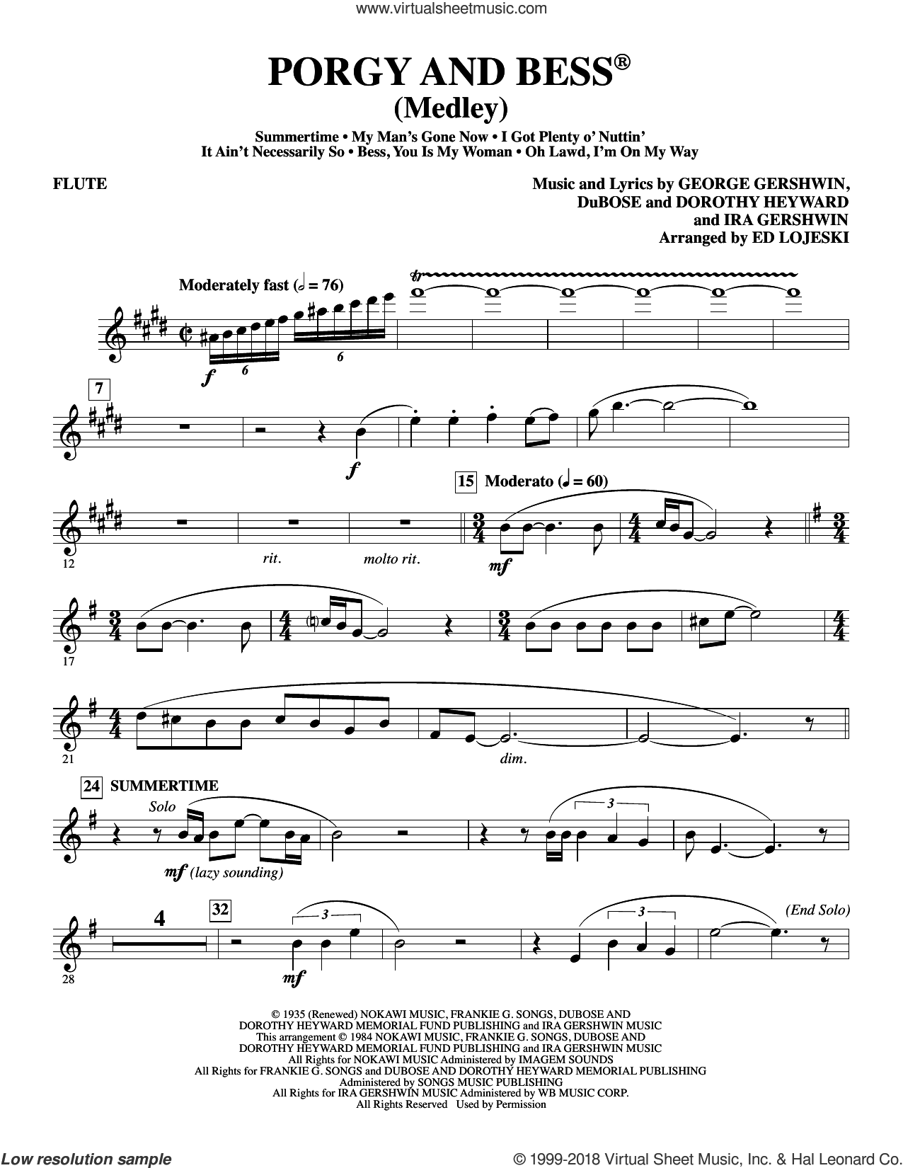Porgy and Bess (Medley) sheet music for orchestra/band (flute) by George Gershwin, Ed Lojeski, Dorothy Heyward, DuBose Heyward and Ira Gershwin, intermediate skill level