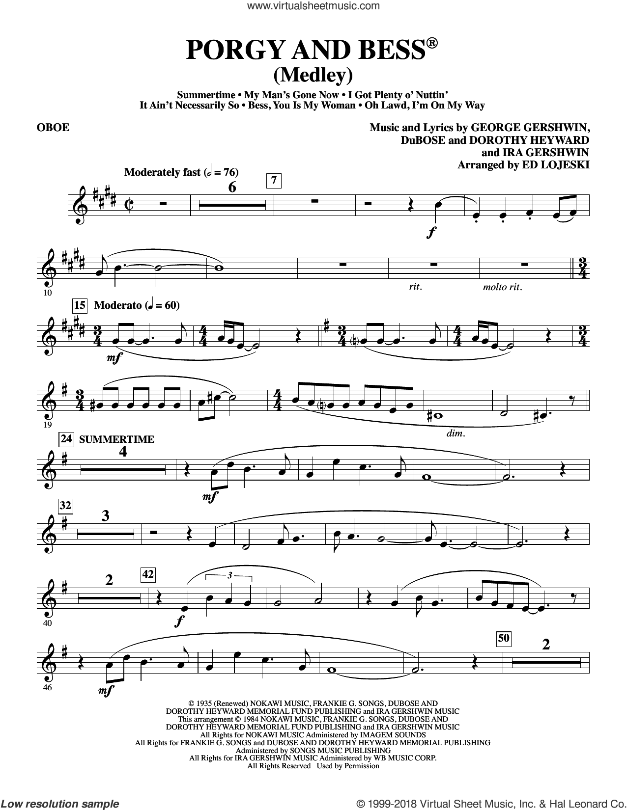 Porgy and Bess (Medley) sheet music for orchestra/band (oboe) by George Gershwin, Ed Lojeski, Dorothy Heyward, DuBose Heyward and Ira Gershwin. Score Image Preview.