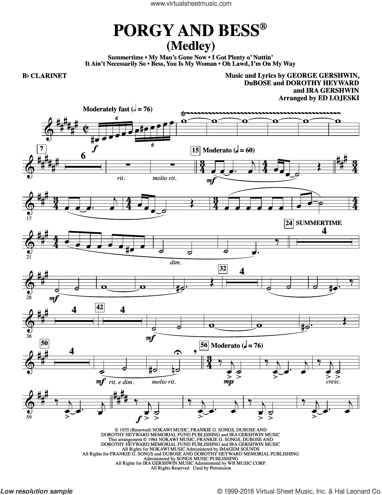 Porgy and Bess (Medley) sheet music for orchestra/band (Bb clarinet) by George Gershwin, Ed Lojeski, Dorothy Heyward, DuBose Heyward and Ira Gershwin, intermediate skill level
