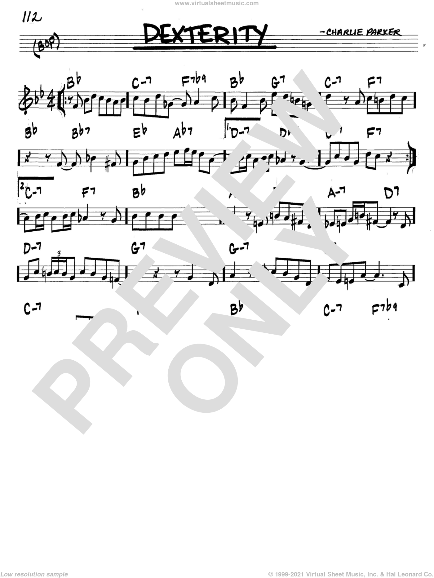 Dexterity sheet music for voice and other instruments (in C) by Charlie Parker, intermediate skill level