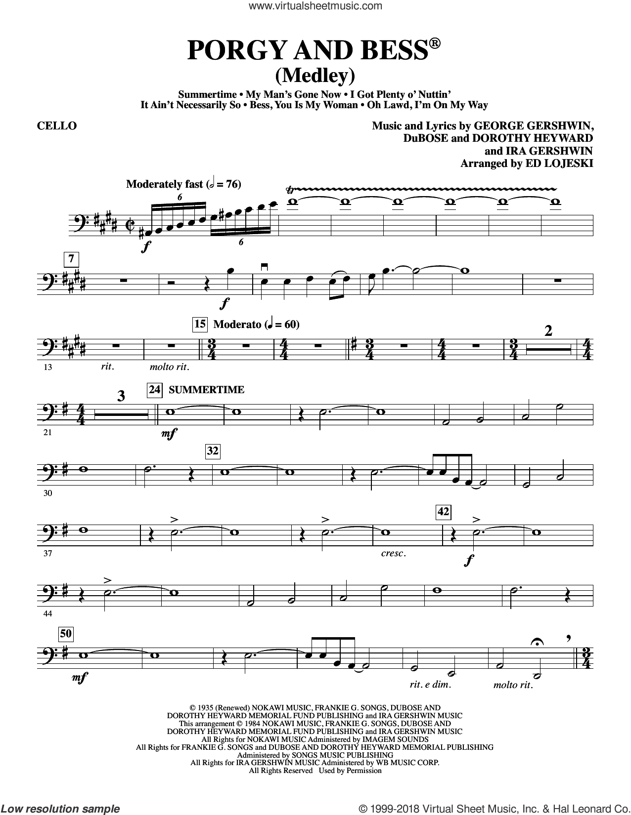 Porgy and Bess (Medley) sheet music for orchestra/band (cello) by Ira Gershwin, Ed Lojeski, Dorothy Heyward, DuBose Heyward and George Gershwin. Score Image Preview.
