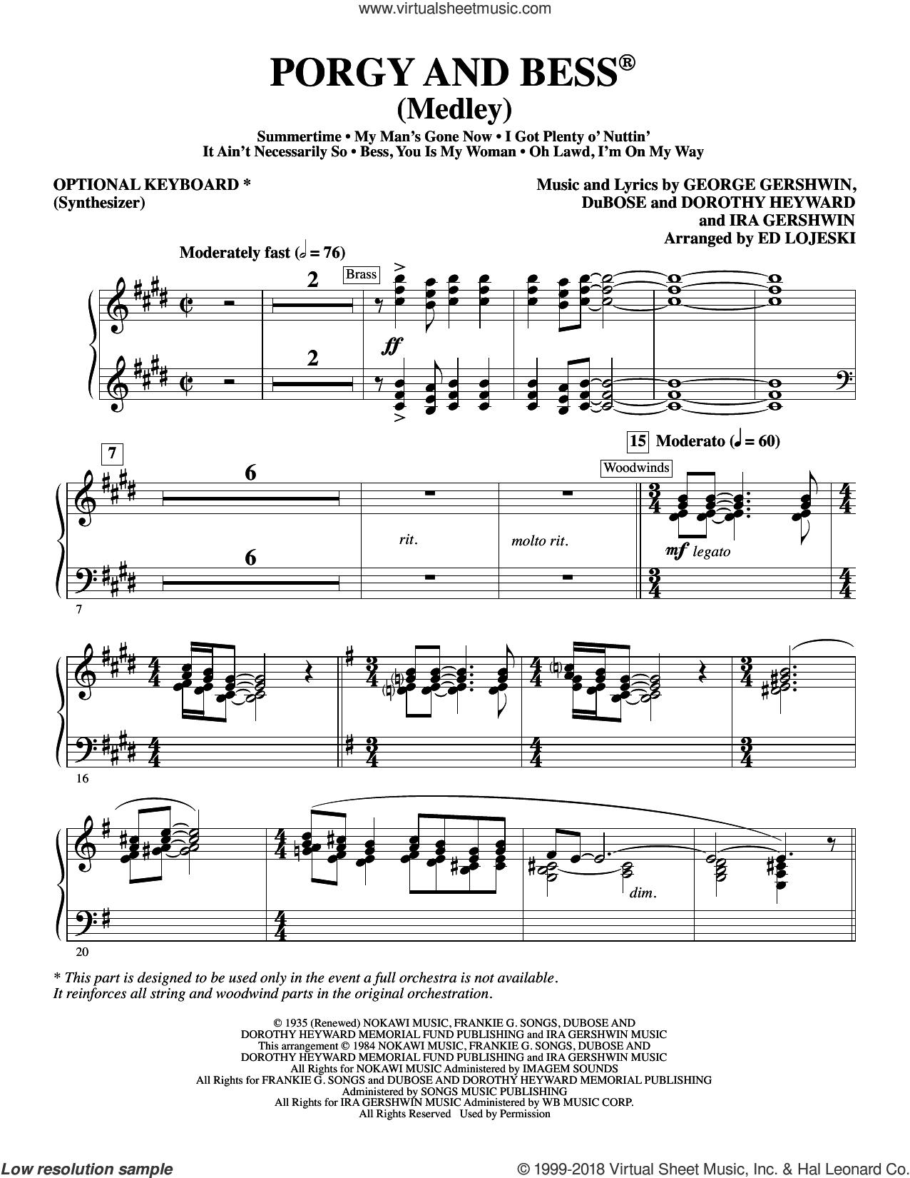 Porgy and Bess (Medley) sheet music for orchestra/band (synthesizer, opt.) by George Gershwin, Ed Lojeski, Dorothy Heyward, DuBose Heyward and Ira Gershwin, intermediate skill level
