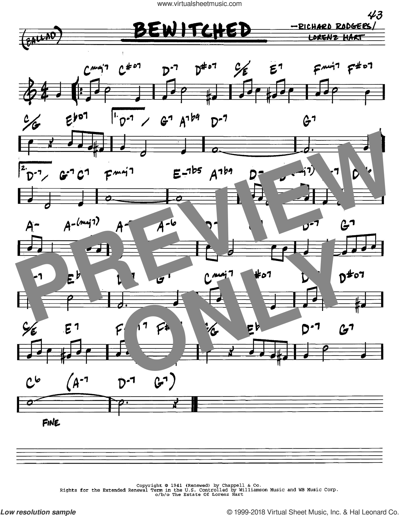Bewitched sheet music for voice and other instruments (C) by Rodgers & Hart, Lorenz Hart and Richard Rodgers. Score Image Preview.