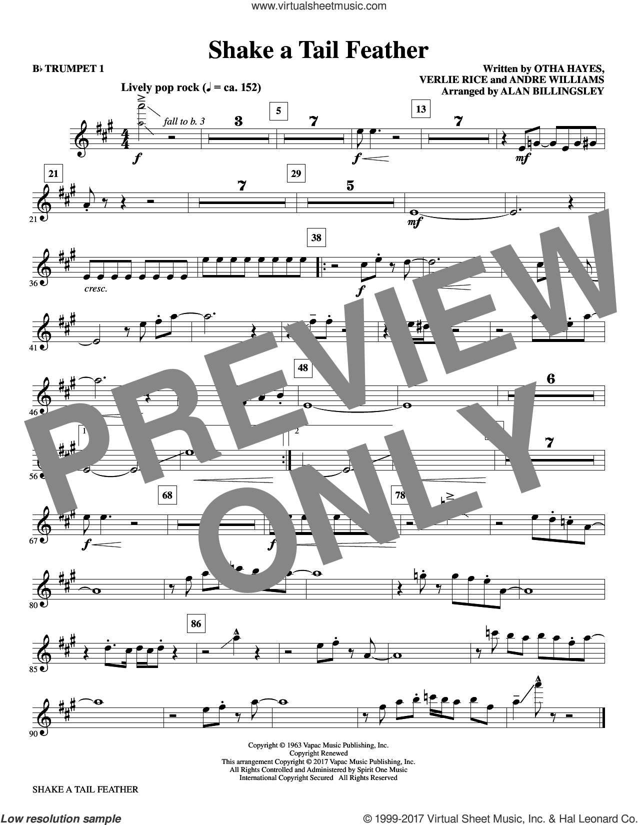 Shake a Tail Feather (complete set of parts) sheet music for orchestra/band by Alan Billingsley and Andre Williams, intermediate. Score Image Preview.