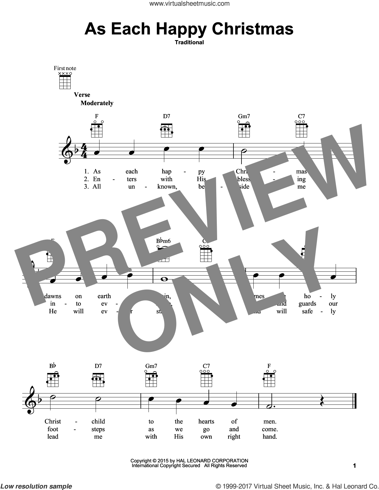 As Each Happy Christmas sheet music for ukulele, intermediate skill level