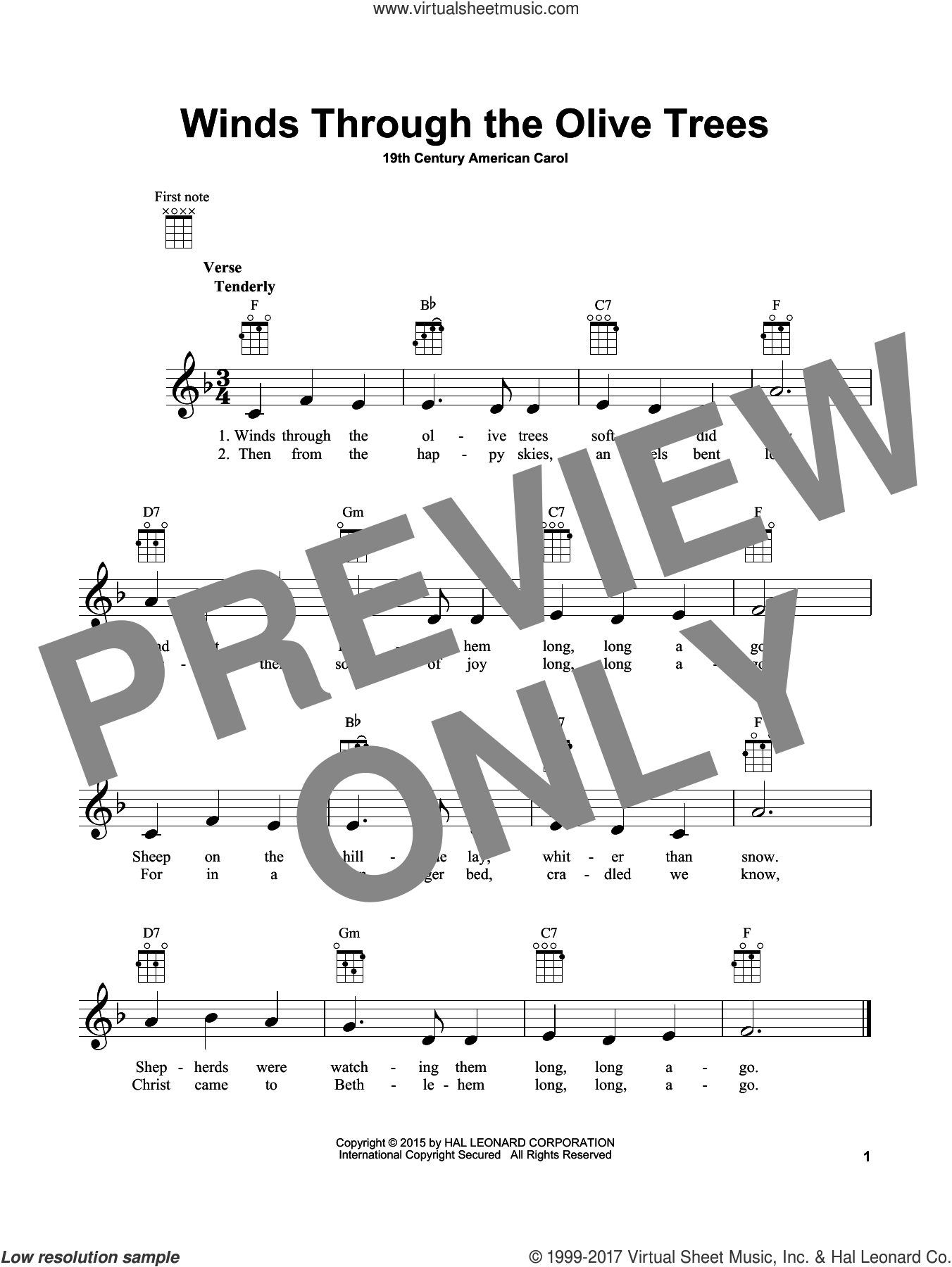 Winds Through The Olive Trees sheet music for ukulele by Anonymous and Miscellaneous, intermediate skill level