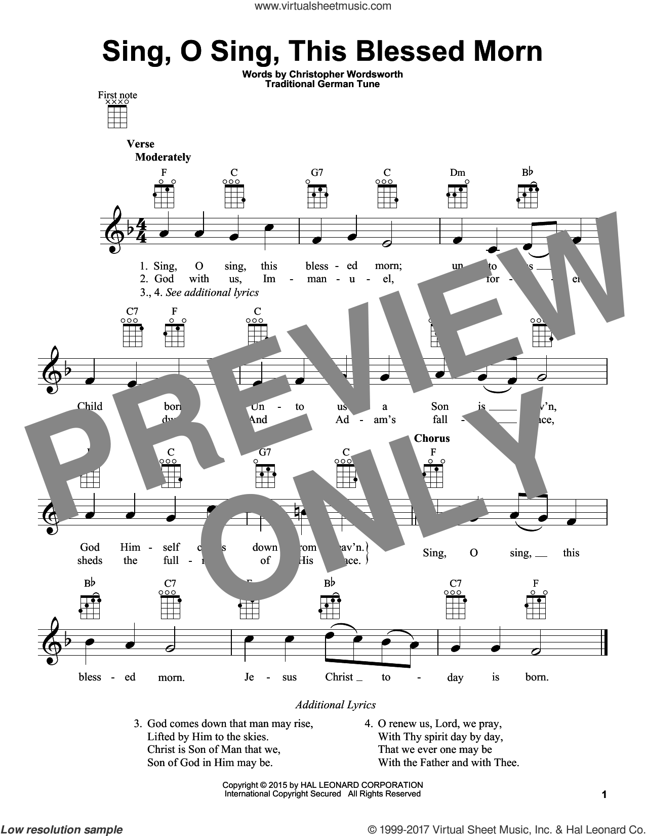 Sing, O Sing, This Blessed Morn sheet music for ukulele by Christopher Wordsworth and Miscellaneous, Christmas carol score, intermediate ukulele. Score Image Preview.