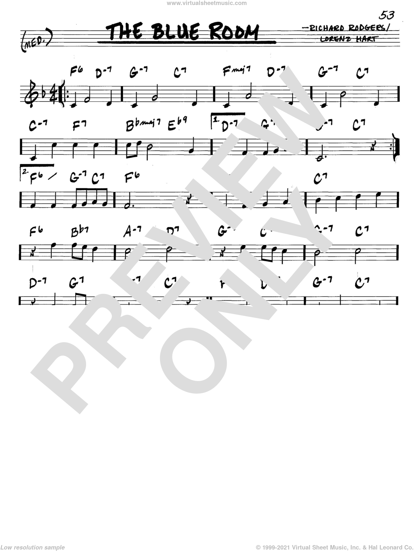 The Blue Room sheet music for voice and other instruments (C) by Richard Rodgers, Rodgers & Hart and Lorenz Hart. Score Image Preview.