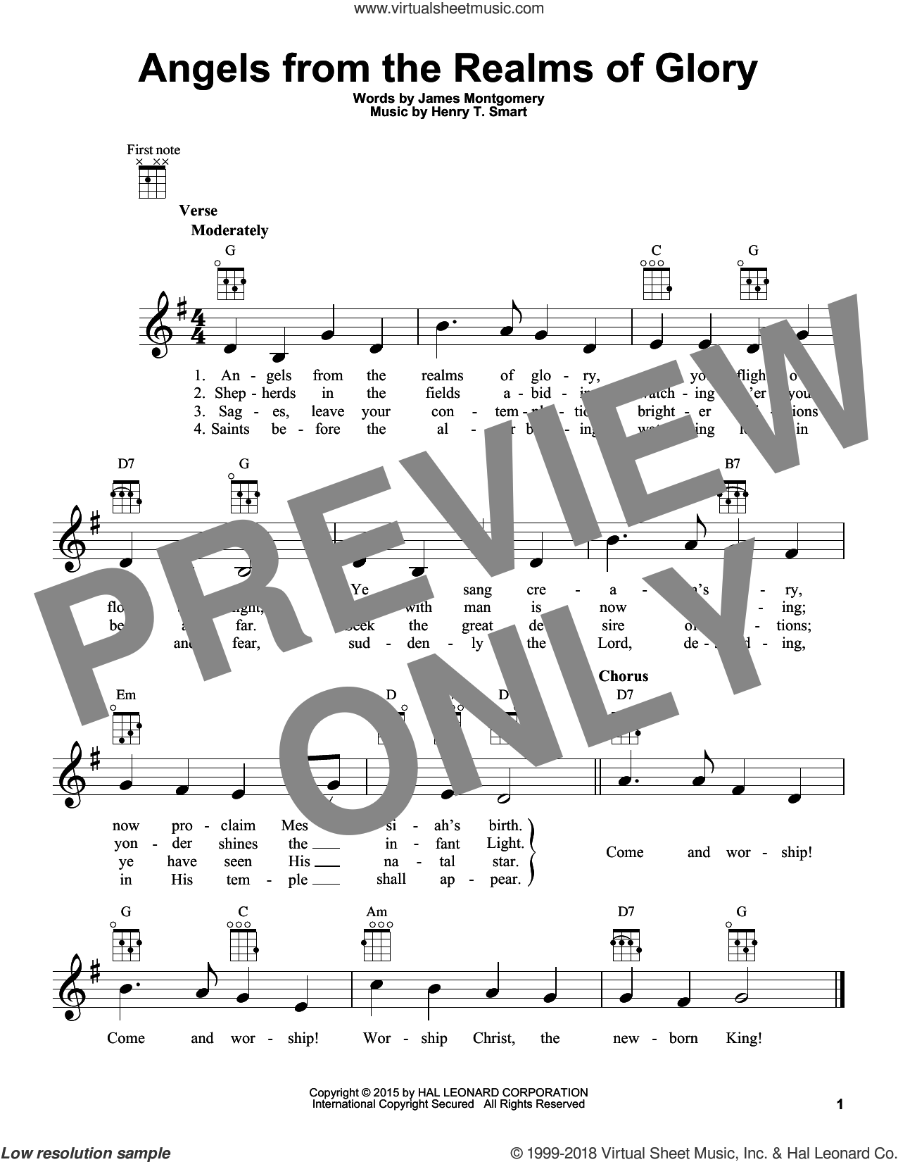 Angels From The Realms Of Glory sheet music for ukulele by James Montgomery and Henry T. Smart. Score Image Preview.