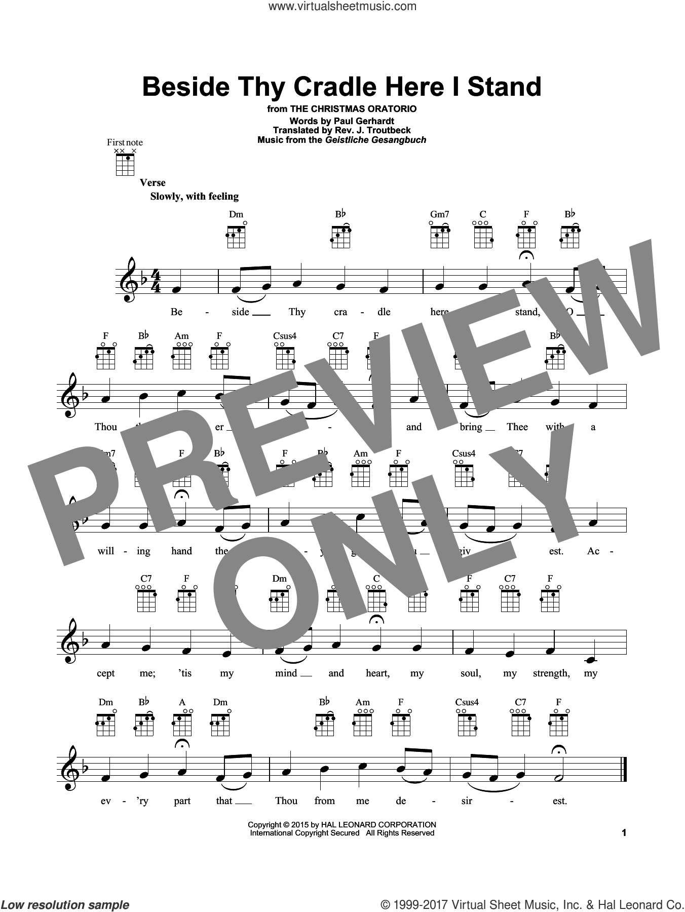 Beside Thy Cradle Here I Stand sheet music for ukulele by Paul Gerhardt, John Troutbeck and Geistliche Gesangbuch, intermediate skill level