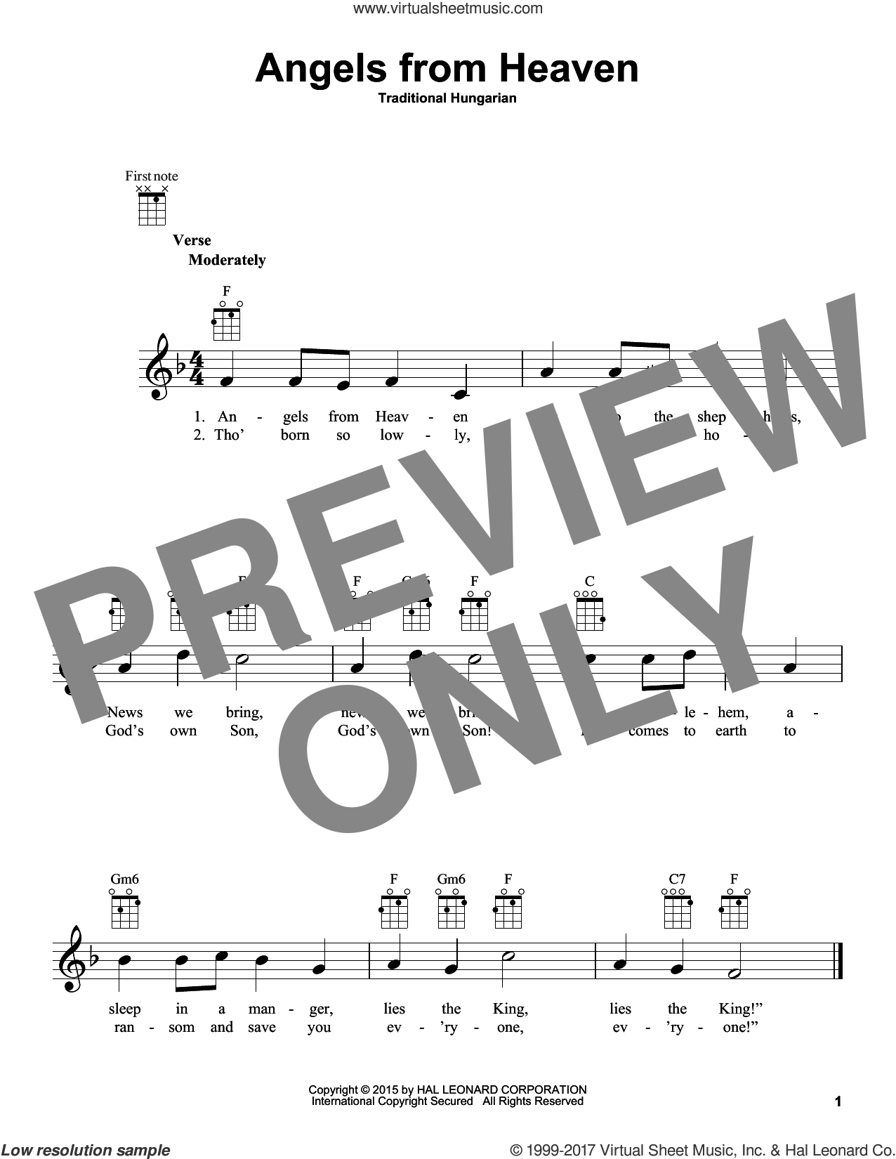 Angels From Heaven sheet music for ukulele by Traditional Hungarian. Score Image Preview.