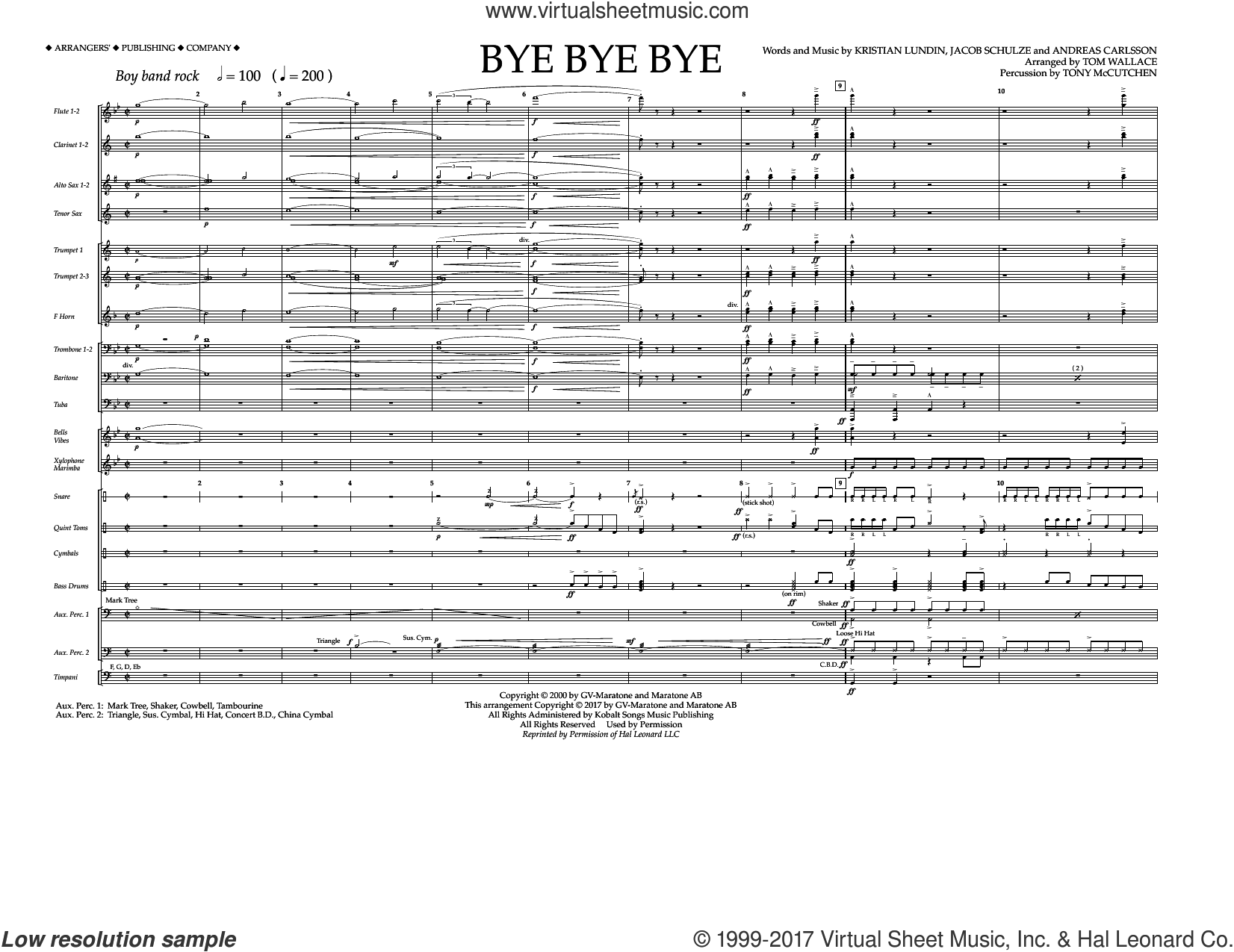 Bye Bye Bye (COMPLETE) sheet music for marching band by Tom Wallace, Andreas Carlsson, Jake Carlsson, Kristian Lundin and N Sync, intermediate. Score Image Preview.