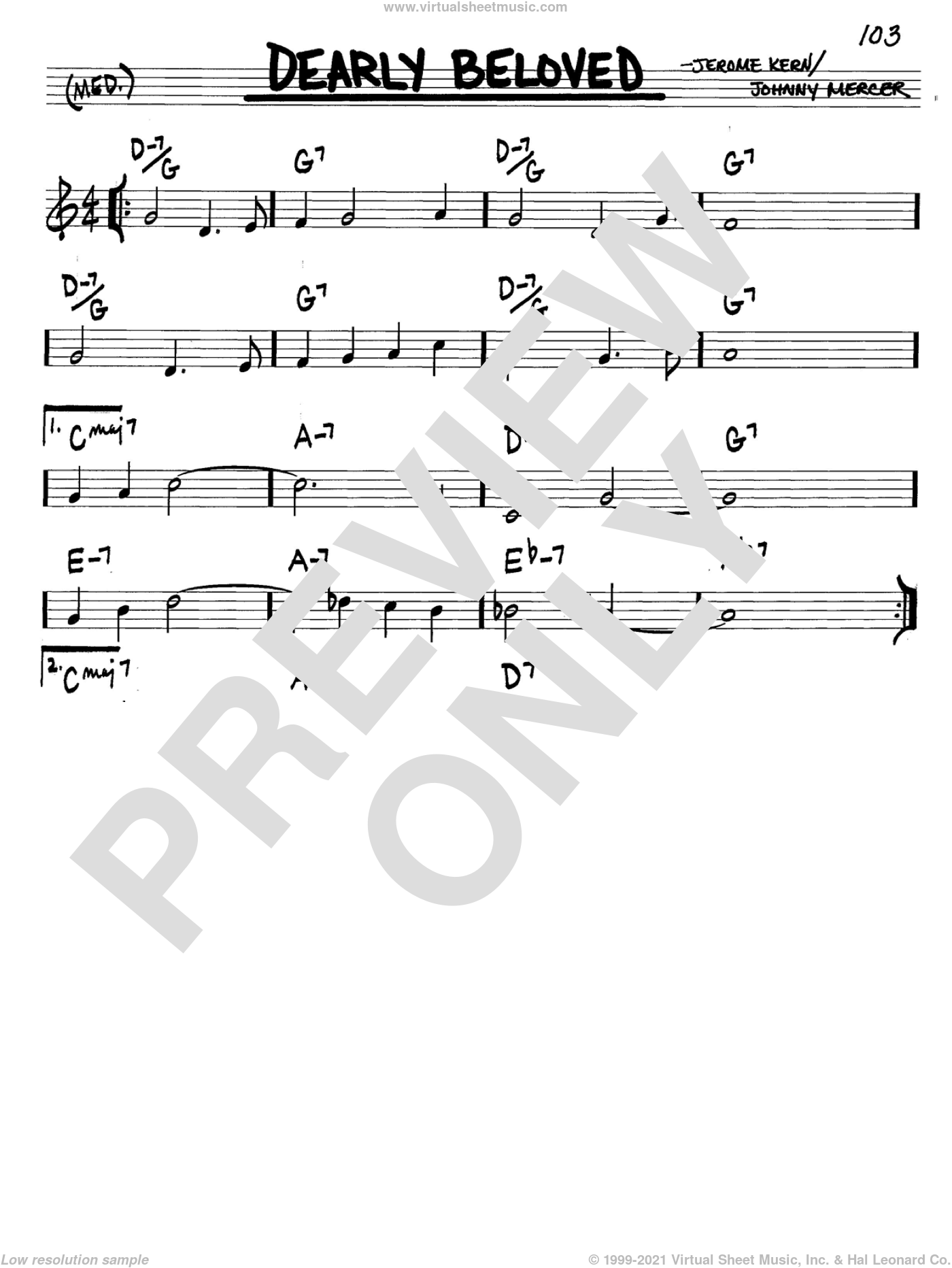 Dearly Beloved sheet music for voice and other instruments (C) by Johnny Mercer and Jerome Kern. Score Image Preview.
