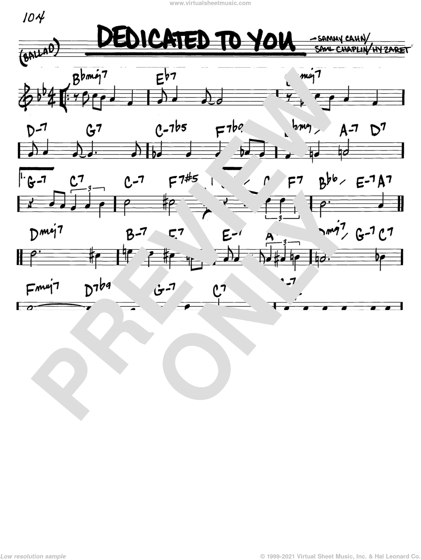 Dedicated To You sheet music for voice and other instruments (C) by Saul Chaplin, Hy Zaret and Sammy Cahn. Score Image Preview.