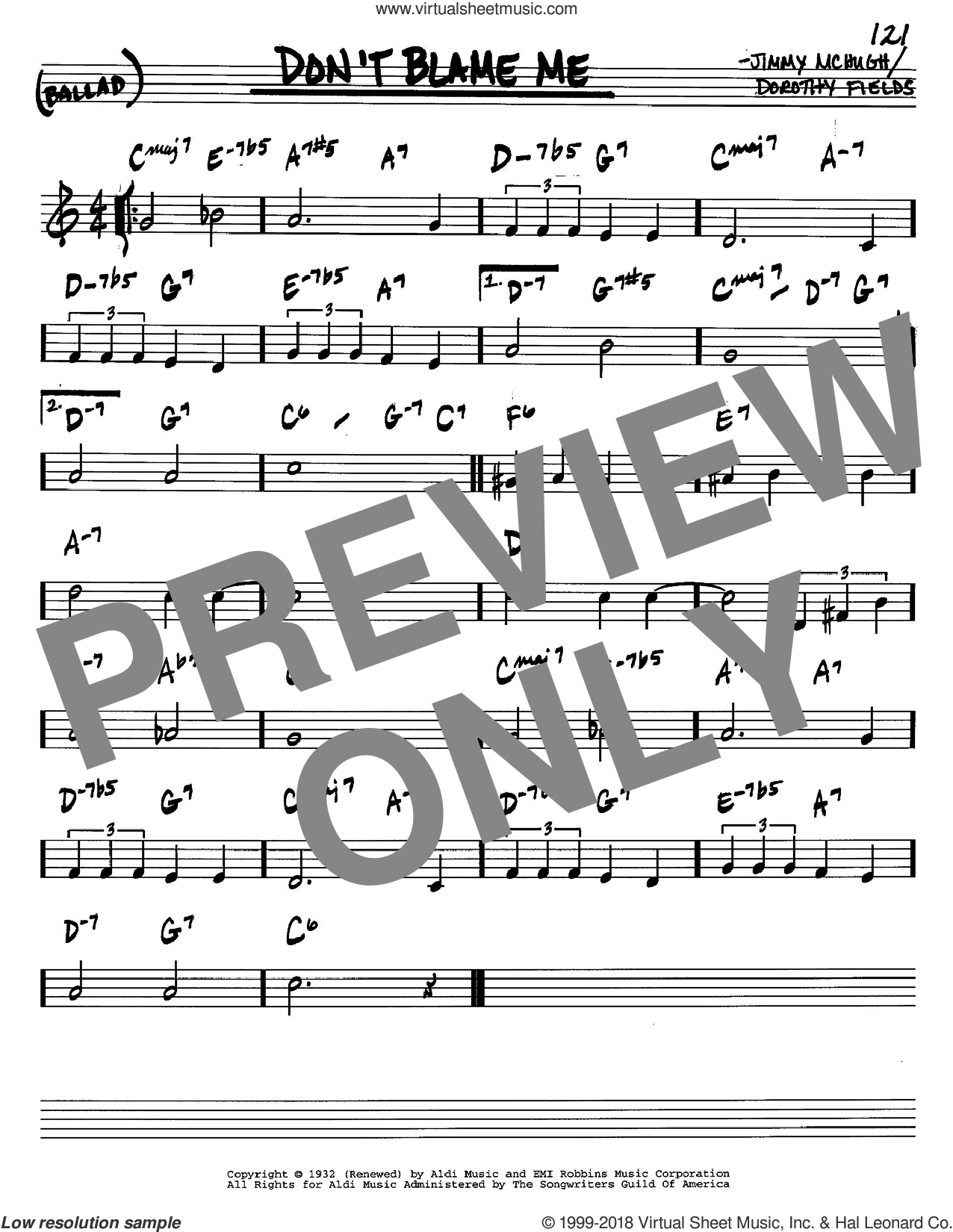 Don't Blame Me sheet music for voice and other instruments (C) by Dorothy Fields and Jimmy McHugh, intermediate. Score Image Preview.