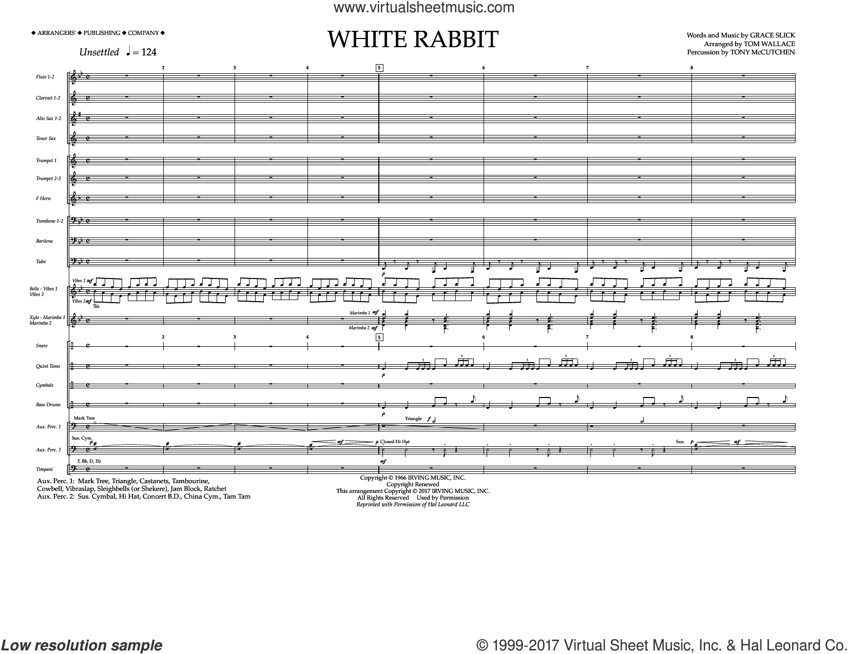 White Rabbit (COMPLETE) sheet music for marching band by Tom Wallace, Grace Slick and Jefferson Airplane, intermediate skill level