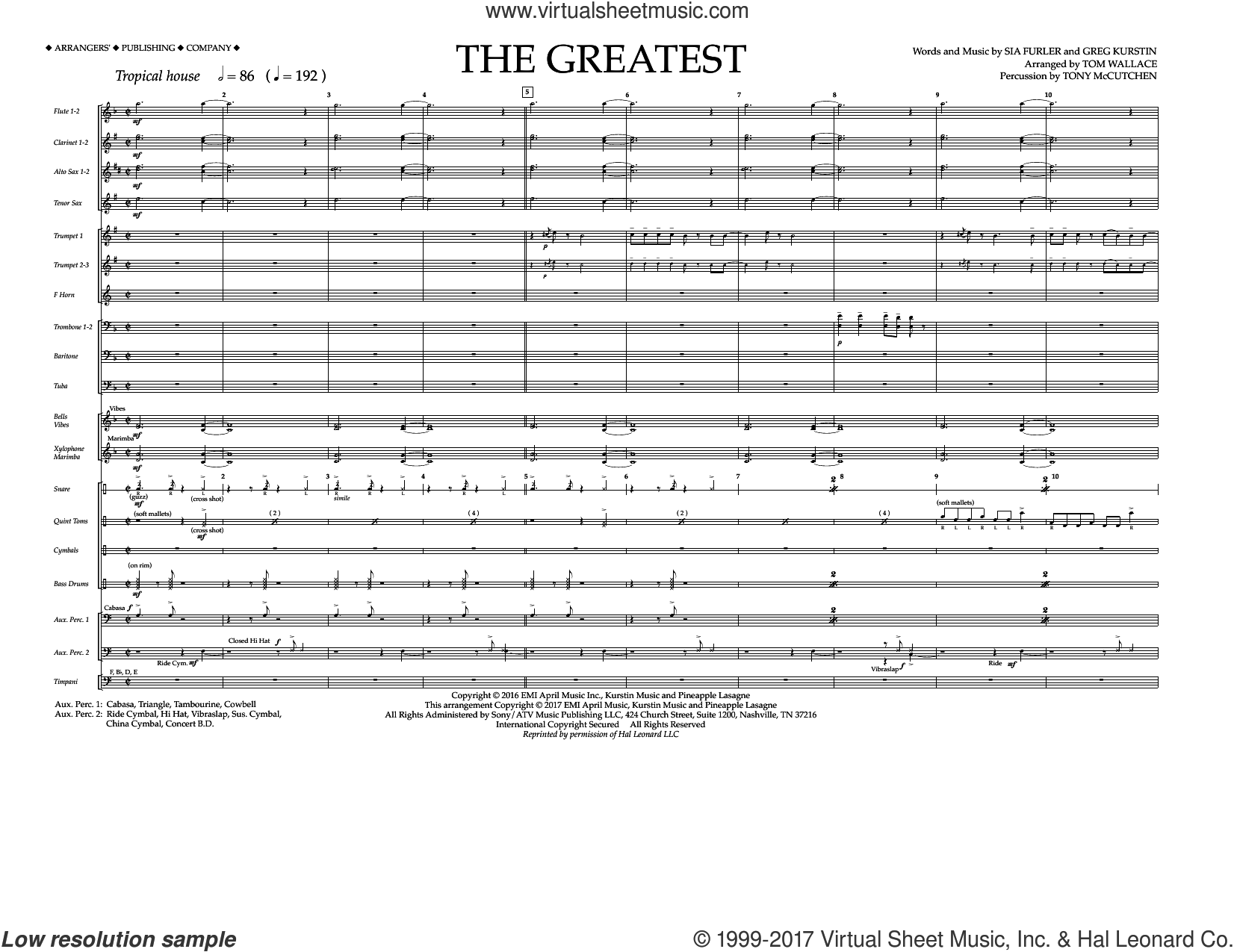 The Greatest (COMPLETE) sheet music for marching band by Greg Kurstin, Sia, Sia Furler and Tom Wallace, intermediate skill level
