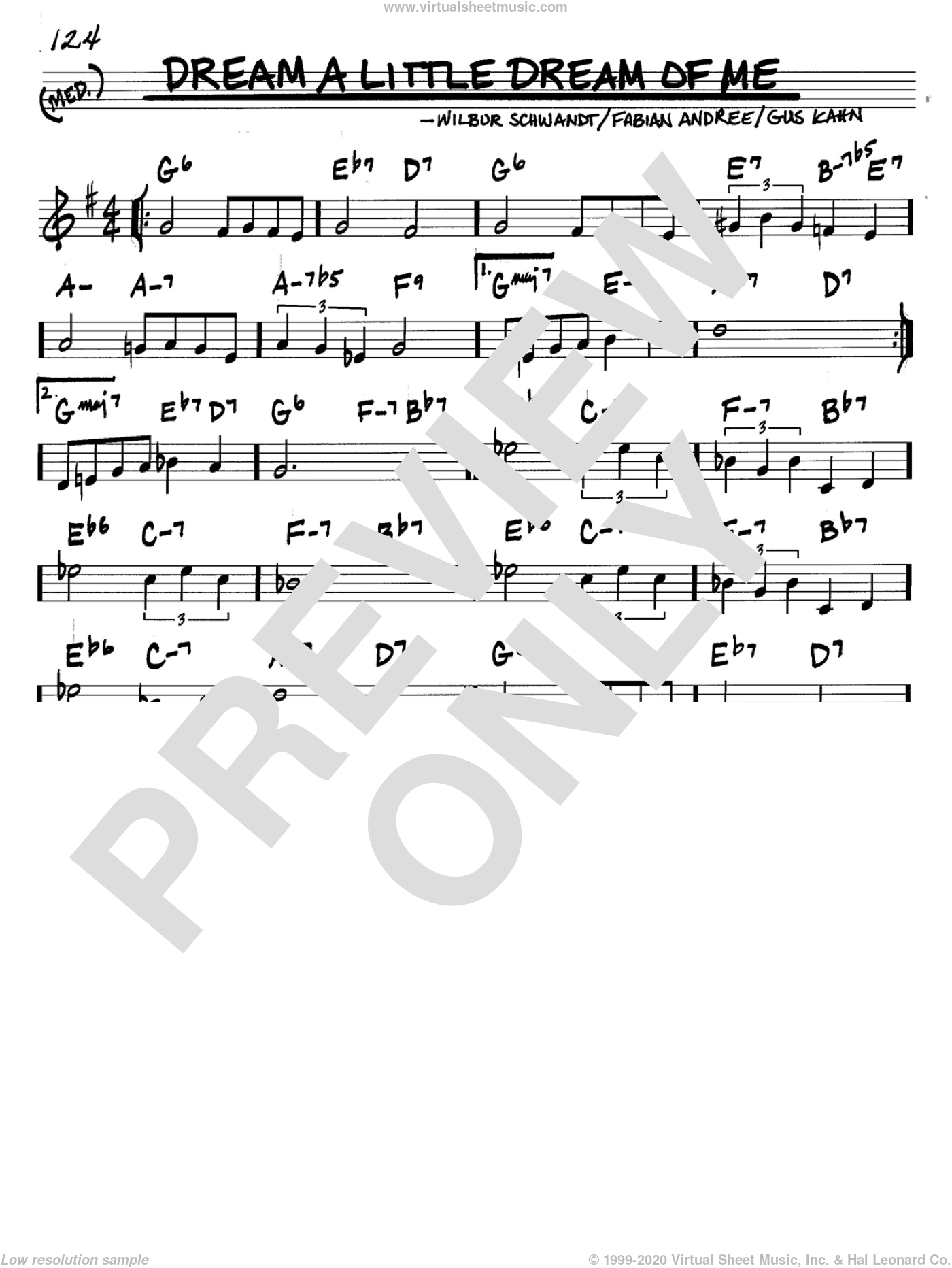 Dream A Little Dream Of Me sheet music for voice and other instruments (in C) by Louis Armstrong, The Mamas & The Papas, Fabian Andree, Gus Kahn and Wilbur Schwandt, intermediate