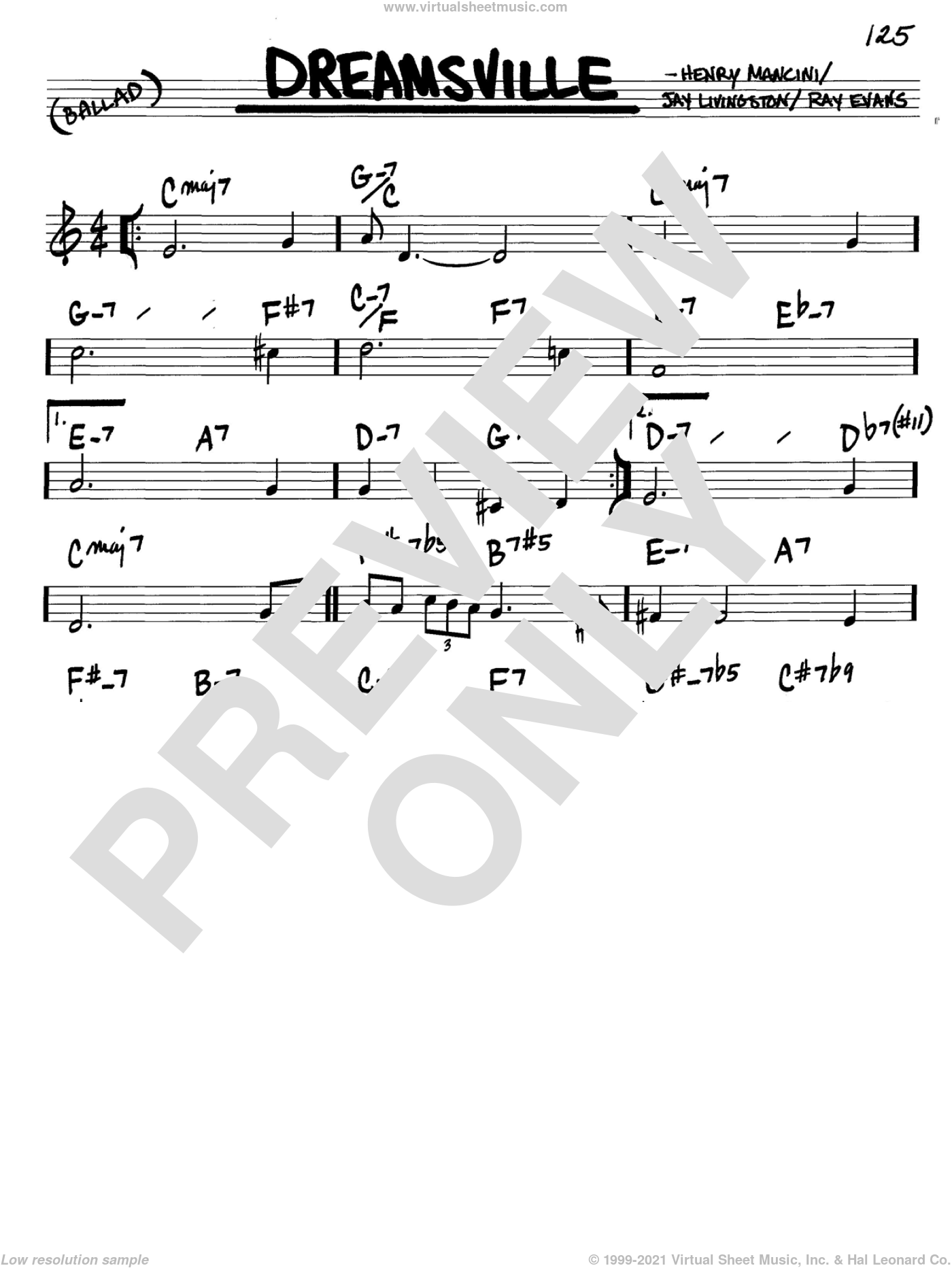 Dreamsville sheet music for voice and other instruments (in C) by Henry Mancini, Jay Livingston and Ray Evans, intermediate. Score Image Preview.