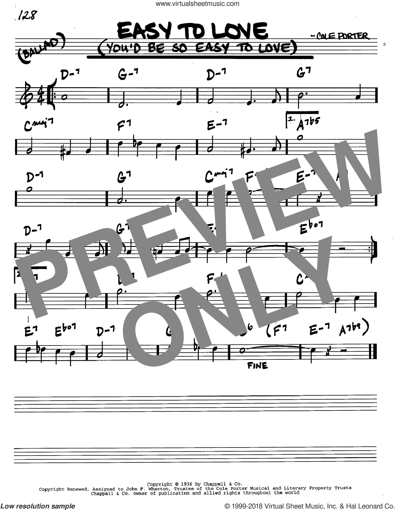 Easy To Love (You'd Be So Easy To Love) sheet music for voice and other instruments (C) by Cole Porter