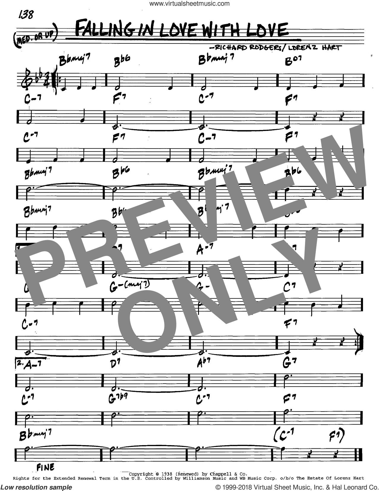 Falling In Love With Love sheet music for voice and other instruments (C) by Richard Rodgers, Rodgers & Hart and Lorenz Hart. Score Image Preview.