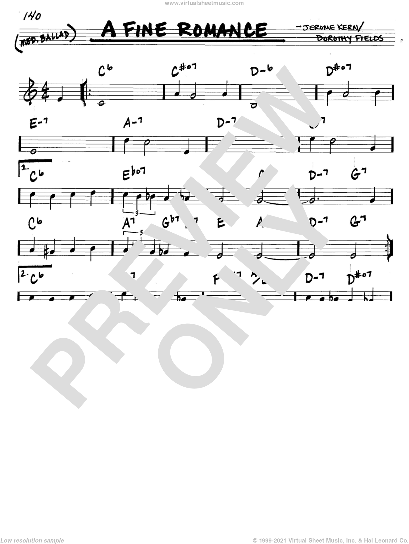 A Fine Romance sheet music for voice and other instruments (in C) by Jerome Kern and Dorothy Fields, intermediate skill level