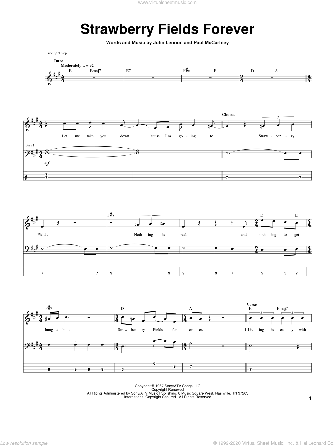Strawberry Fields Forever sheet music for bass (tablature) (bass guitar) by Paul McCartney, The Beatles and John Lennon. Score Image Preview.