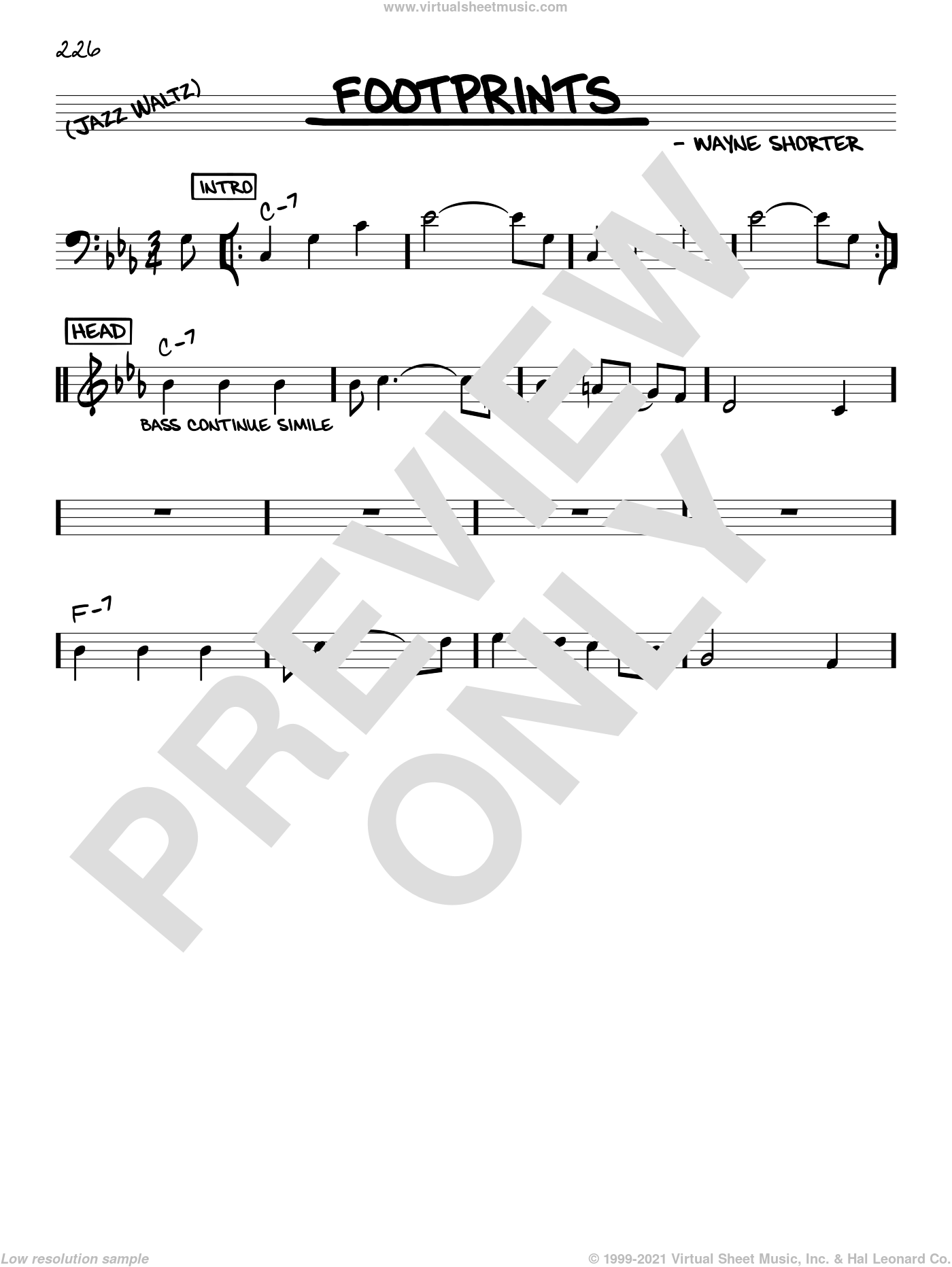 Footprints sheet music for voice and other instruments (C) by Wayne Shorter, intermediate voice. Score Image Preview.
