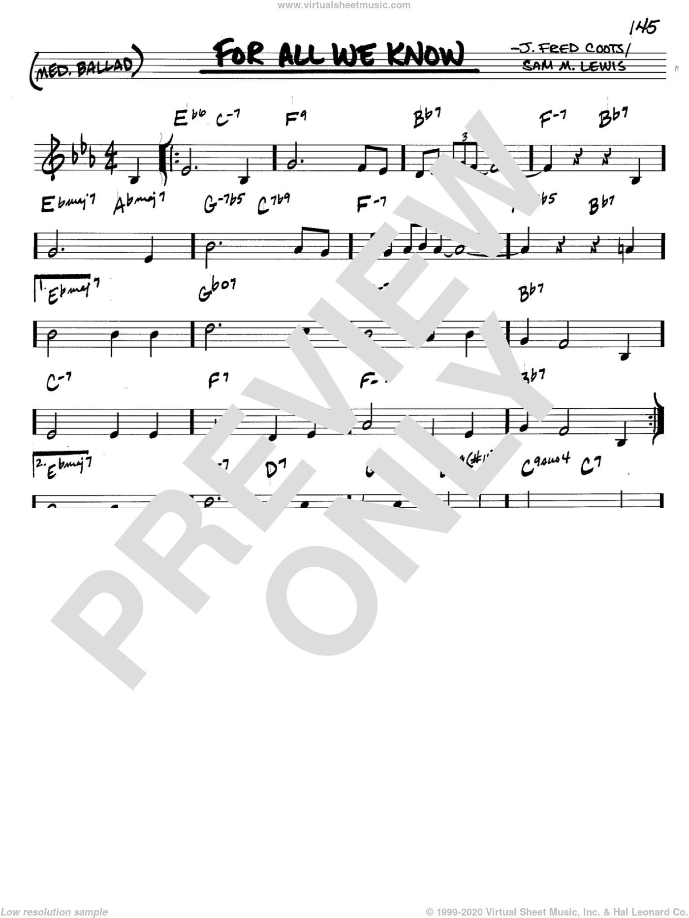 For All We Know sheet music for voice and other instruments (C) by J. Fred Coots and Sam Lewis, intermediate voice. Score Image Preview.
