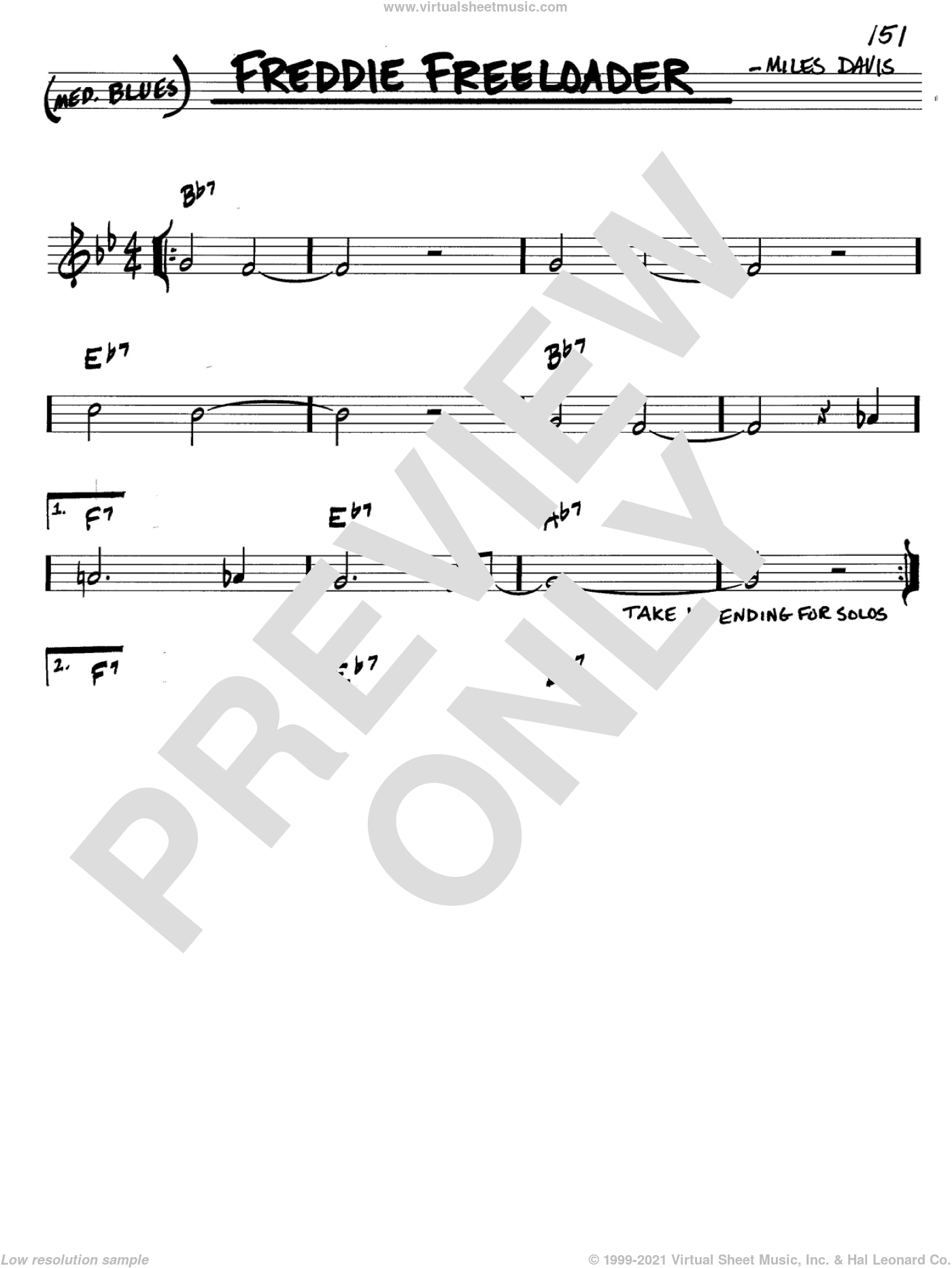 Freddie Freeloader sheet music for voice and other instruments (in C) by Miles Davis, intermediate skill level