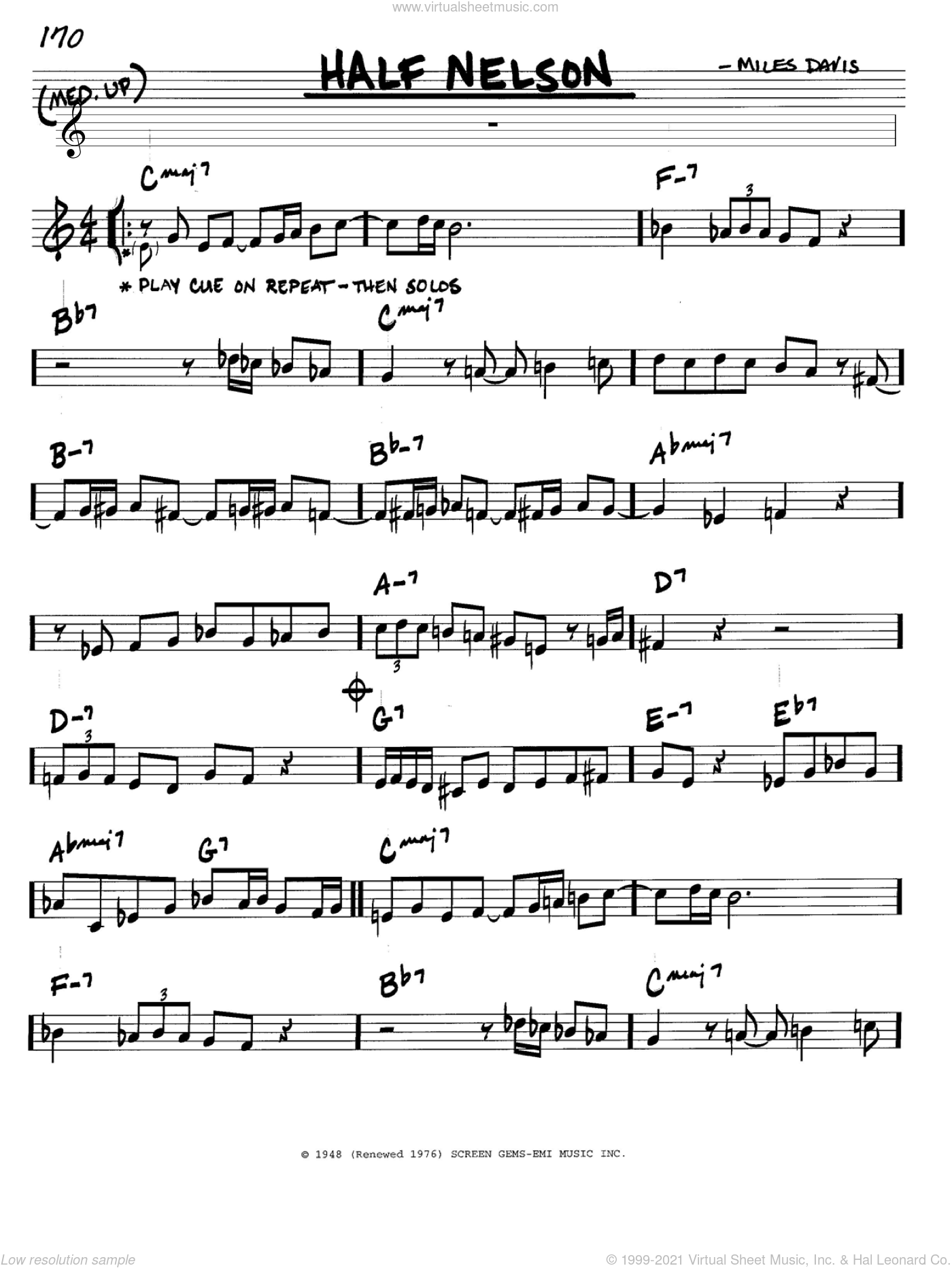 Half Nelson sheet music for voice and other instruments (in C) by Miles Davis, intermediate skill level