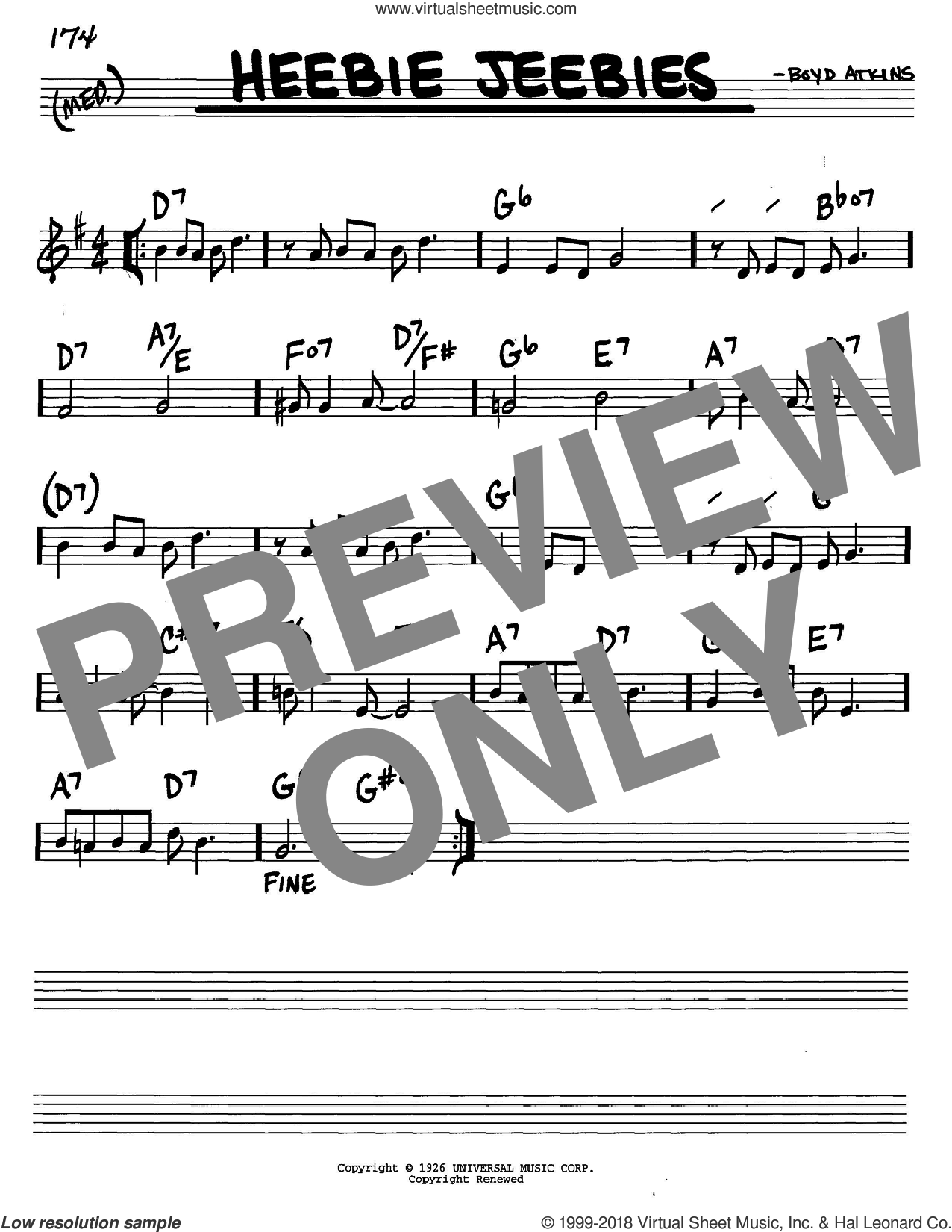 Heebie Jeebies sheet music for voice and other instruments (in C) by Louis Armstrong and Boyd Atkins, intermediate skill level